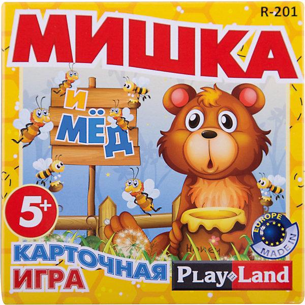 Настольная игра Мишка и мед, Play LandНастольные игры для всей семьи<br>Характеристики товара:<br><br>• в комплекте:: 56 карт;<br>• количество игроков: 2-4;<br>• время игры: 30-45 минут;<br>• материал: картон;<br>• возраст: от 5 лет;<br>• размер упаковки: 12х4,5х12,2 см;<br>• вес: 158 грамм;<br>• страна бренда: Болгария.<br><br>«Мишка и мёд» - увлекательная настольная игра для детей от 5 лет. В комплект входят 56 карточек. На одной стороне карточки нарисован медвежонок, а на другой - написано задание.<br><br>Игра подходит для 2-4 игроков. Цель игры - первым довести медвежонка до бочки мёда. В процессе игры участники по очереди достают карты из колоды и следуют по указанному в карточке направлению.<br><br>Настольную игру Мишка и мед, Play Land (Плей Лэнд) можно купить в нашем интернет-магазине.<br><br>Ширина мм: 122<br>Глубина мм: 45<br>Высота мм: 120<br>Вес г: 158<br>Возраст от месяцев: 60<br>Возраст до месяцев: 168<br>Пол: Унисекс<br>Возраст: Детский<br>SKU: 6893358