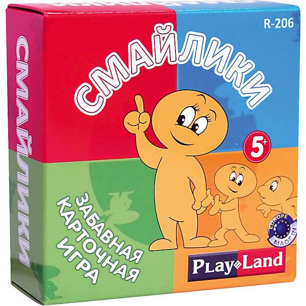 Настольная игра Смайлики, Play LandНастольные игры для всей семьи<br>Характеристики товара:<br><br>• в комплекте:: 56 карт;<br>• количество игроков: 2-4;<br>• время игры: 30-45 минут;<br>• материал: картон;<br>• возраст: от 5 лет;<br>• размер упаковки: 12х4,5х12,2 см;<br>• вес: 146 грамм;<br>• страна бренда: Болгария.<br><br>Настольная игра «Смайлики» - прекрасное развлечение для всей семьи. В набор входят 56 карт с изображением смайлов и цифр. В наборе есть 4 вида смайлов, изображающих разные эмоции: злость, радость, печаль, удивление.<br><br>Правила игры очень просты и понятны каждому. Главная задача - первым сбросить все свои карты. В начале игры каждому участнику раздают по 6 карт. На столе остается одна стартовая карта. Остальные карты остаются в колоде рубашкой вверх. Игроки по очереди добавляют одну из своих карт к стартовой карте. Выкладывать можно карту с одинаковым номером или с одинаковой эмоцией.<br><br>Настольную игру Смайлики, Play Land (Плей Лэнд) можно купить в нашем интернет-магазине.<br>Ширина мм: 122; Глубина мм: 45; Высота мм: 120; Вес г: 146; Возраст от месяцев: 60; Возраст до месяцев: 168; Пол: Унисекс; Возраст: Детский; SKU: 6893360;