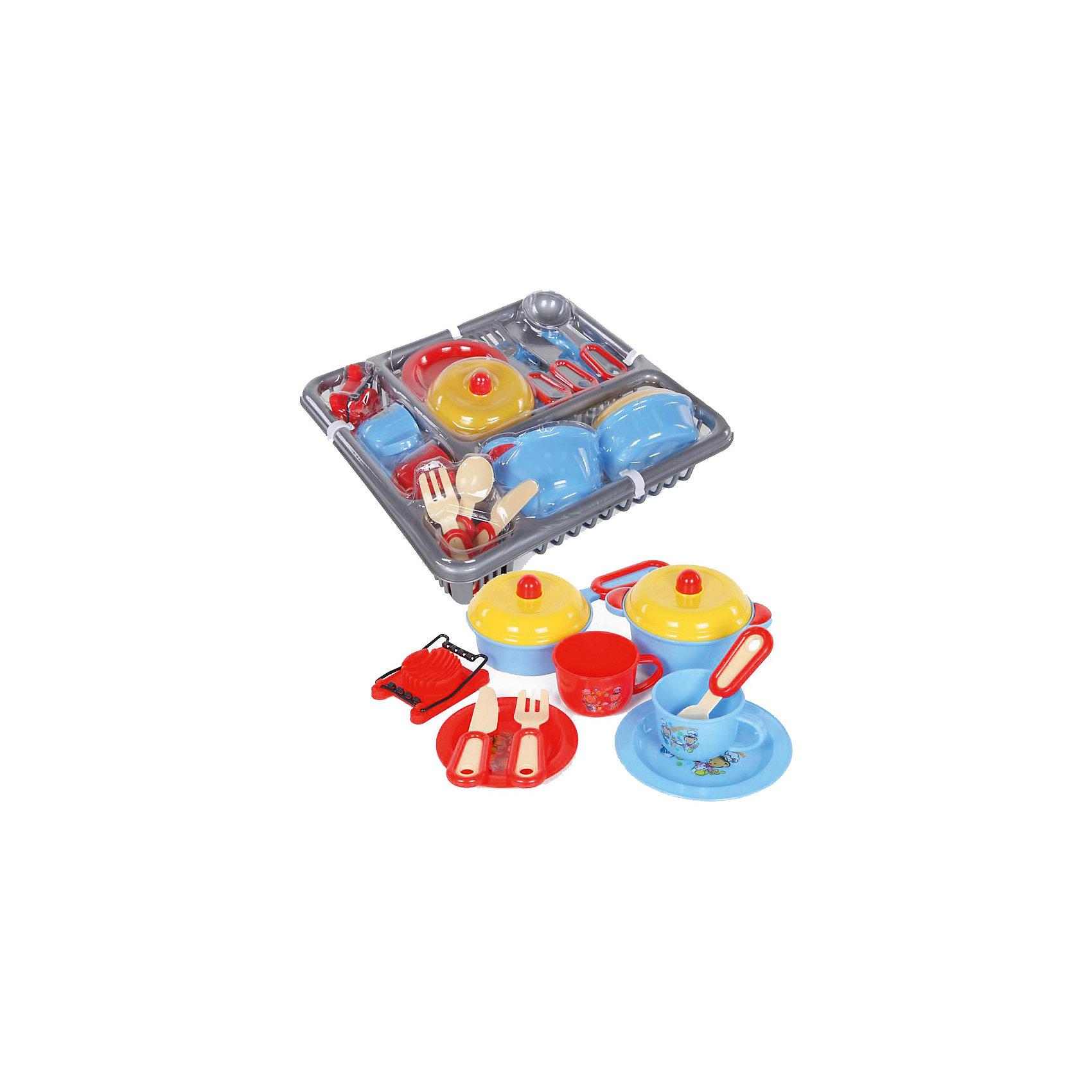 Набор посуды, YakoПосуда и аксессуары для детской кухни<br>Характеристики товара:<br><br>• в комплекте: сковорода с крышкой, кастрюля с крышкой, маленькая тарелка, большая тарелка, 2 чашки, половник, 2 лопатки, нож, вилка, ложка, яйцерезка;<br>• материал: пластик;<br>• возраст: от 3-х лет;<br>• размер упаковки: 7х29х27 см;<br>• вес: 458 грамм;<br>• страна бренда: Китай.<br><br>Игровой набор посуды станет отличным дополнением кухни девочки. В набор входит посуда, столовые приборы и прочая кухонная утварь.<br><br>Весь набор размещен в удобном пластиковом контейнере. При желании его можно использовать для сушки посуды.<br><br>Игрушки изготовлены из пластика без содержания токсичных материалов.<br><br>Набор посуды, Yako (Яко) можно купить в нашем интернет-магазине.<br><br>Ширина мм: 270<br>Глубина мм: 290<br>Высота мм: 70<br>Вес г: 458<br>Возраст от месяцев: 36<br>Возраст до месяцев: 2147483647<br>Пол: Женский<br>Возраст: Детский<br>SKU: 6893381