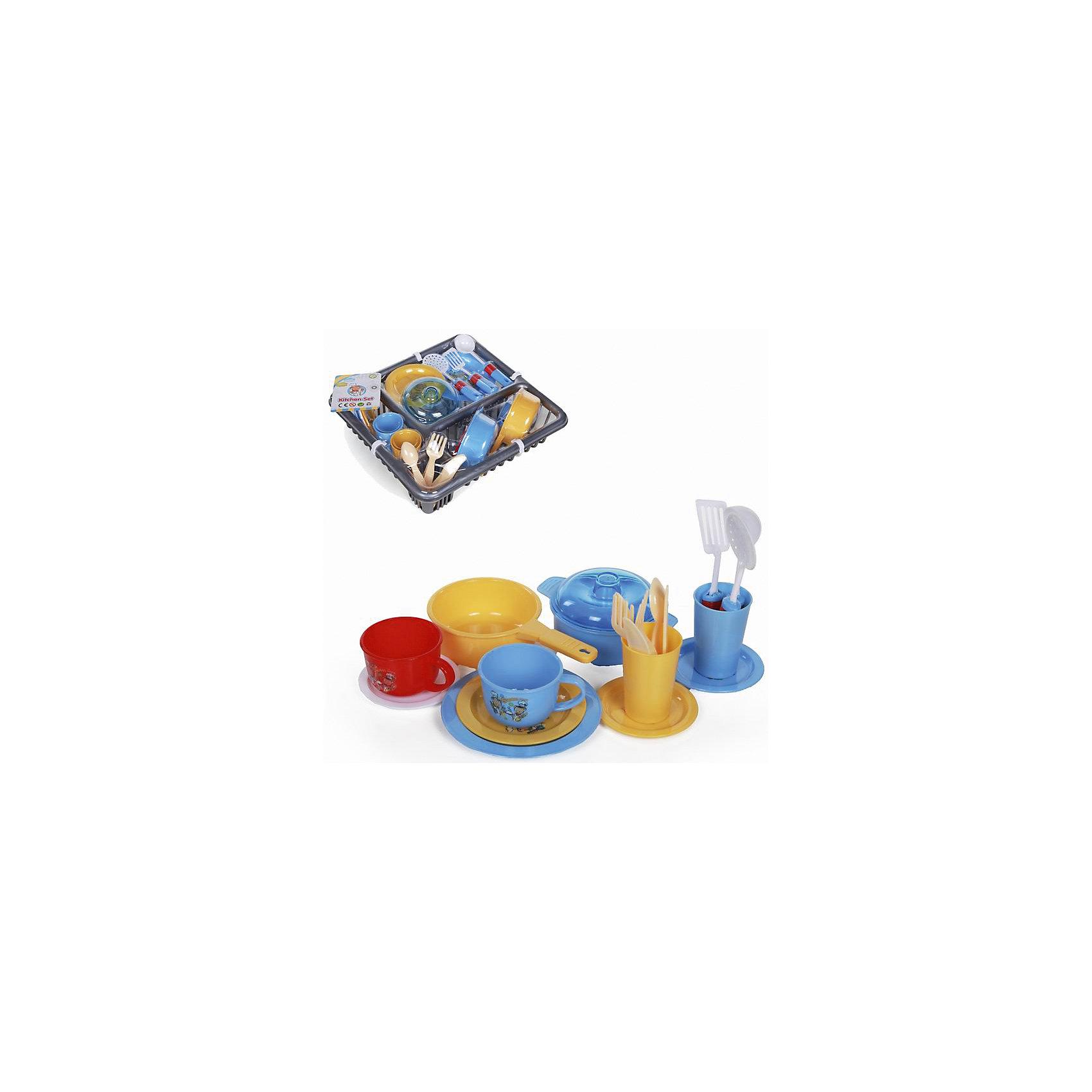Набор посуды, YakoПосуда и аксессуары для детской кухни<br>Характеристики товара:<br><br>• в комплекте: сковорода, кастрюля с крышкой, 2 чашки, 2 стакана, 5 тарелок, половник, 2 лопатки, 2 ложки, 2 вилки, 2 ножа;<br>• материал: пластик;<br>• возраст: от 3-х лет;<br>• размер упаковки: 7х29х27 см;<br>• вес: 458 грамм;<br>• страна бренда: Китай.<br><br>Игрушечная посуда необходима каждой маленькой хозяйке. В набор от Yako входят столовые приборы, посуда и другая кухонная утварь. Девочка сможет приготовить вкусный обед и накормить им своих игрушек. <br><br>Весь набор размещен в удобном пластиковом контейнере. При желании его можно использовать для сушки посуды.<br><br>Игрушки изготовлены из пластика без содержания токсичных материалов.<br><br>Набор посуды, Yako (Яко) можно купить в нашем интернет-магазине.<br><br>Ширина мм: 270<br>Глубина мм: 290<br>Высота мм: 70<br>Вес г: 458<br>Возраст от месяцев: 36<br>Возраст до месяцев: 2147483647<br>Пол: Женский<br>Возраст: Детский<br>SKU: 6893382