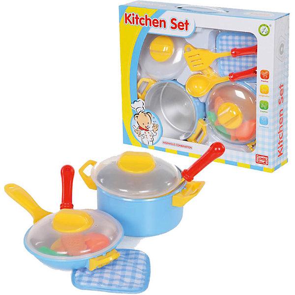 Набор посуды, YakoДетские кухни<br>Характеристики товара:<br><br>• в комплекте: сковорода с крышкой, кастрюля с крышкой, прихватка, продукты, лопатка, половник;<br>• материал: пластик, текстиль;<br>• возраст: от 3-х лет;<br>• размер упаковки: 17х26х25 см;<br>• вес: 571 грамм;<br>• страна бренда: Китай.<br><br>Игровой набор «Пиццерия» - прекрасный подарок для каждого юного повара. С его помощью можно приготовить самые вкусные блюда. К тому же, ребенок научится обращаться с посудой, а муляжи продуктов помогут воплотить в жизнь самые интересные фантазии.<br><br>В комплект входят продукты, посуда, прихватка и аксессуары.<br><br>Игрушки изготовлены из пластика без содержания токсичных материалов.<br><br>Набор посуды, Yako (Яко) можно купить в нашем интернет-магазине.<br><br>Ширина мм: 250<br>Глубина мм: 260<br>Высота мм: 170<br>Вес г: 571<br>Возраст от месяцев: 36<br>Возраст до месяцев: 2147483647<br>Пол: Женский<br>Возраст: Детский<br>SKU: 6893383