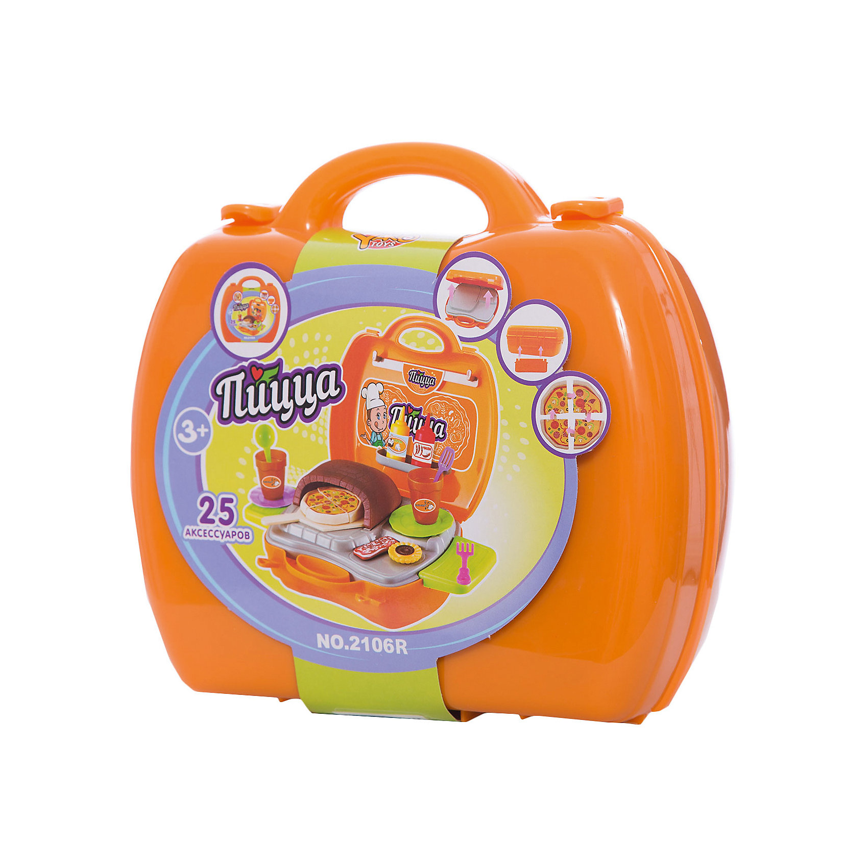 Игровой набор Пицца, YakoИгрушечные продукты питания<br>Характеристики товара:<br><br>• в комплекте: чемоданчик, игрушечная плита, посуда, столовые приборы, аксессуары;<br>• материал: пластик;<br>• возраст: от 3-х лет;<br>• размер упаковки: 30х34х30 см;<br>• вес: 497 грамм;<br>• страна бренда: Китай.<br><br>Игровой набор «Пицца» содержит всё необходимое для приготовления вкусного итальянского блюда. Чемоданчик раскладывается, а после игры все предметы можно сложить обратно, чтобы взять чемоданчик с собой.<br><br>Чемоданчик быстро превращается в плиту. На полочках и крючках ребенок сможет удобно разместить посуду и аксессуары.<br><br>Игрушки изготовлены из пластика без содержания токсичных материалов.<br><br>Игровой набор Пицца, Yako (Яко) можно купить в нашем интернет-магазине.<br><br>Ширина мм: 300<br>Глубина мм: 340<br>Высота мм: 300<br>Вес г: 497<br>Возраст от месяцев: 36<br>Возраст до месяцев: 2147483647<br>Пол: Женский<br>Возраст: Детский<br>SKU: 6893384