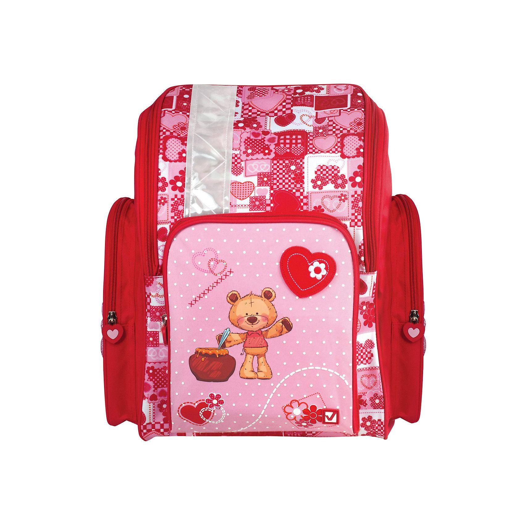 Ранец Brauberg Мишка без наполнения, 18 литровРанцы<br>Ранец Мишка предназначен для девочек 7-10 лет. Он выполнен в красно-розовом цвете и дополнен необычным принтом на карманах. Благодаря такой яркой расцветке, с этим ранцем ребенок всегда будет выглядеть нарядно и опрятно.•1 отделение, 3 кармана. •Формоустойчивая спинка из EVA. •Широкие регулируемые лямки. •Светоотражающие элементы с четырех сторон ранца. •Пластиковые ножки. •Вес ранца - 0,68 кг. •Размер - 36х26х14 см. •Объем - 18 л.<br><br>Ширина мм: 320<br>Глубина мм: 500<br>Высота мм: 65<br>Вес г: 680<br>Возраст от месяцев: 72<br>Возраст до месяцев: 2147483647<br>Пол: Женский<br>Возраст: Детский<br>SKU: 6893733