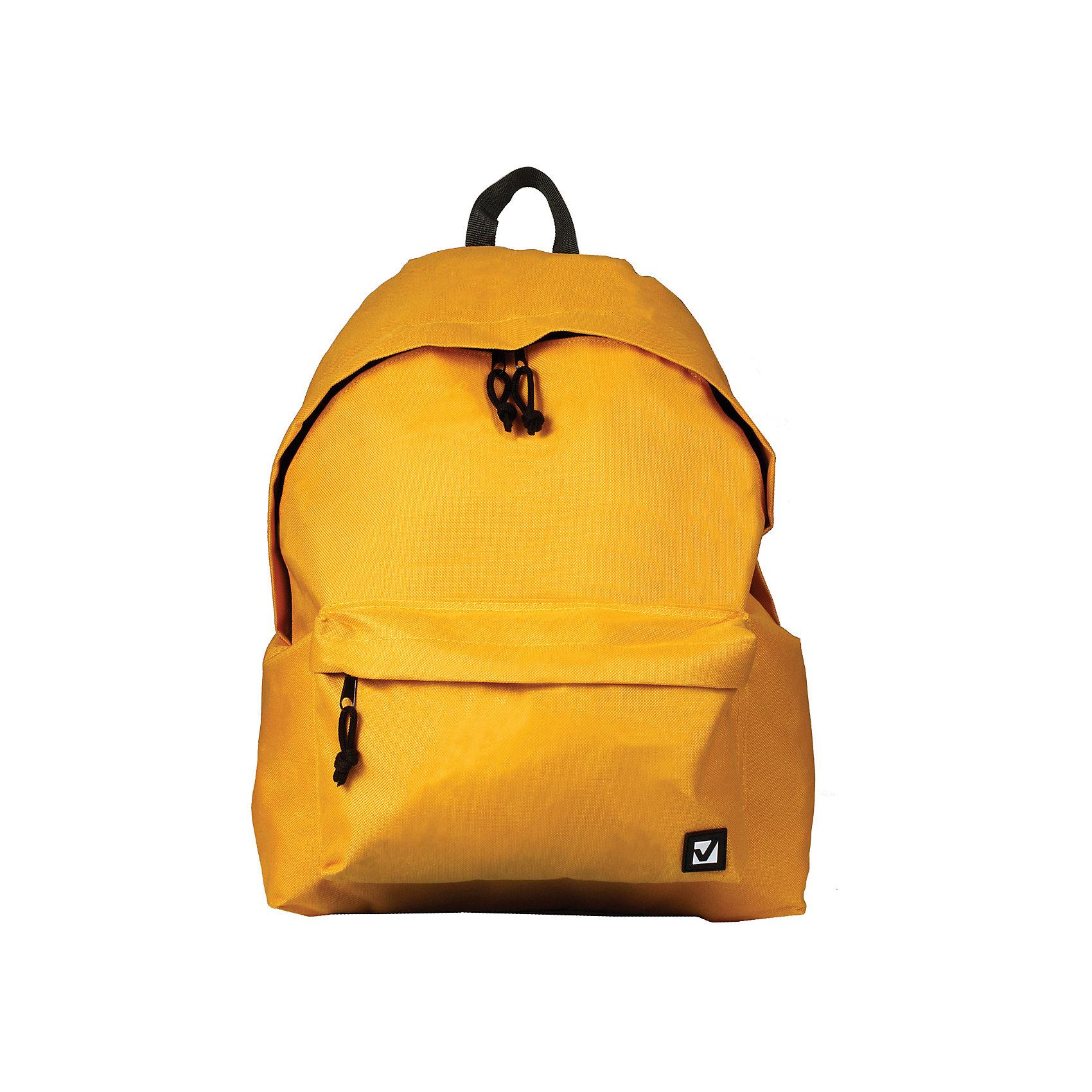 Рюкзак Brauberg Классика желтый, 20 литровРюкзаки<br>Классический однотонный рюкзак сдержанных расцветок станет незаменимым спутником активной молодежи, которая ценит практичность. Плотная ткань рюкзака обеспечит сохранность содержимого, а вместительное отделение позволит иметь при себе все необходимое.•1 отделение, 1 карман. •Водоотталкивающая ткань. •Широкие регулируемые лямки. •Размер - 41х32х14 см. •Цвет - желтый. •Объем - 20 литров.<br><br>Ширина мм: 20<br>Глубина мм: 320<br>Высота мм: 405<br>Вес г: 350<br>Возраст от месяцев: 72<br>Возраст до месяцев: 2147483647<br>Пол: Унисекс<br>Возраст: Детский<br>SKU: 6893774