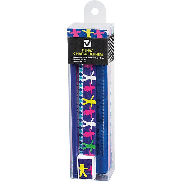 Пенал-косметичка с наполнением Brauberg ХороводПеналы с наполнением<br>Характеристики товара:<br><br>• количество отделений: 1;<br>• в комплекте: чернографитный карандаш, точилка, ластик;<br>• размер: 19х4х3 см;<br>• возраст: от 7 лет;<br>• застежка: молния;<br>• цвет: синий;<br>• материал: полиэстер;<br>• вес: 58 грамм;<br>• страна бренда: Германия;<br>• страна изготовитель: Китай.<br><br>Пенал «Хоровод» отличается практичностью и оригинальным дизайном. Красивый узор с человечками на лицевой стороне понравится каждому школьнику и студенту. Изделие выполнено из прочного, плотного полиэстера. Пенал имеет одно отделение, застегивающееся на молнию. Наполнение пенала: чернографитный карандаш, точилка, ластик.<br><br>Пенал-косметичку Brauberg (Брауберг), с наполнением (линейка, карандаш, точилка), Хоровод 19*4*3см можно купить в нашем интернет-магазине.<br>Ширина мм: 190; Глубина мм: 30; Высота мм: 40; Вес г: 58; Возраст от месяцев: 72; Возраст до месяцев: 2147483647; Пол: Женский; Возраст: Детский; SKU: 6893792;