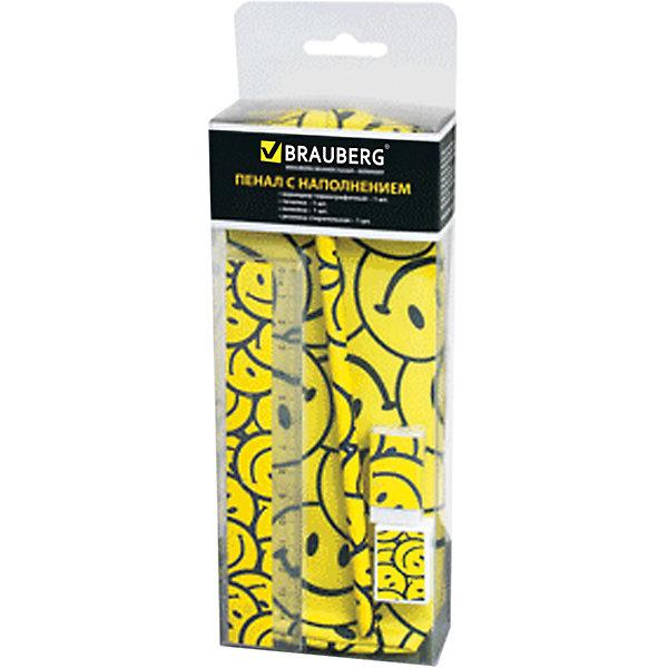 Пенал-косметичка с наполнением Brauberg СмайликиПеналы с наполнением<br>Характеристики товара:<br><br>• количество отделений: 1;<br>• в комплекте: чернографитный карандаш, точилка, ластик, линейка;<br>• размер: 20х7х4 см;<br>• возраст: от 7 лет;<br>• застежка: молния;<br>• цвет: желтый;<br>• материал: полиэстер;<br>• вес: 58 грамм;<br>• страна бренда: Германия;<br>• страна изготовитель: Китай.<br><br>Стильный и удобный пенал для школы станет надежным помощником в учебе. Изделие состоит из одного отделения на молнии. Лицевая сторона украшена привлекательным узором со смайликами. В набор входят необходимые канцелярские принадлежности: карандаш, точилка, ластик, линейка. Все элементы набора выполнены в дизайне, соответствующем дизайну пенала.<br><br>Пенал-косметичку Brauberg (Брауберг), с наполнением (линейка, карандаш, точилка, резинка), Смайлики, 20*7*4см можно купить в нашем интернет-магазине.<br>Ширина мм: 200; Глубина мм: 70; Высота мм: 40; Вес г: 94; Возраст от месяцев: 72; Возраст до месяцев: 2147483647; Пол: Унисекс; Возраст: Детский; SKU: 6893794;