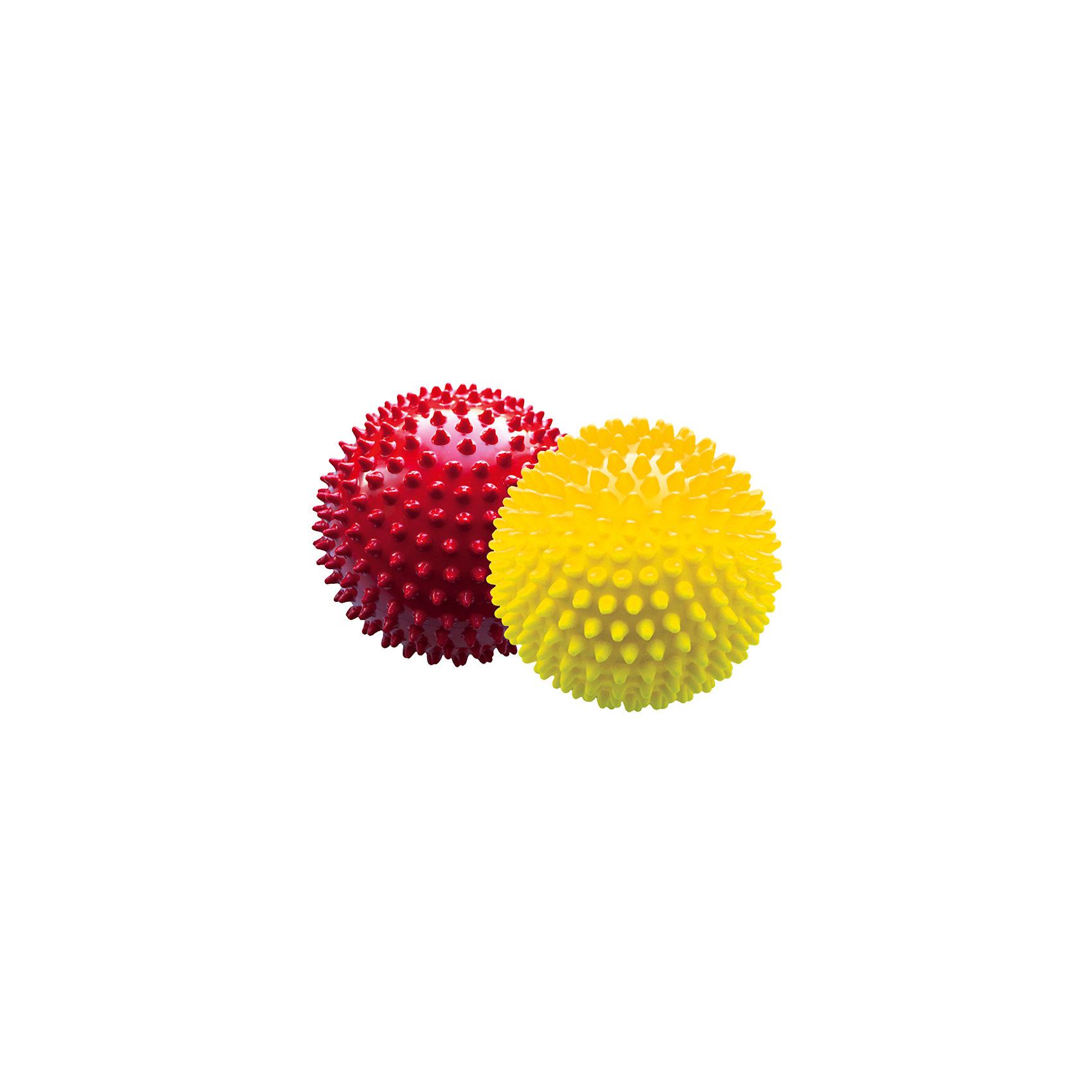 Набор мячей ёжиков, красный и желтый, 12 см, МалышОКМячи детские<br>Характеристики товара:<br><br>• в комплекте: 2 мяча;<br>• диаметр мяча: 12 см;<br>• материал: ПВХ;<br>• цвет: красный, желтый;<br>• возраст: от 0 месяцев;<br>• размер упаковки: 13х13х26 см;<br>• вес: 150 грамм;<br>• страна бренда: Россия.<br><br>Набор мячей ёжиков предназначен для игр или массажа. Мячи подходят для использования в воде. В комплект входят 2 мяча диаметром 12 сантиметров.<br><br>Во время игры развиваются тактильные навыки, цветовое восприятие, координация движений и моторика рук.<br><br>Мягкие шипы бережно массируют кожу малыша, улучшая кровоток, что благотворно влияет на развитие нервной системы и мускулатуры.<br><br>Мячи изготовлены из гипоаллергенных материалов.<br><br>Набор мячей ёжиков, красный и желтый, 12 см, МалышОК можно купить в нашем интернет-магазине.<br><br>Ширина мм: 260<br>Глубина мм: 130<br>Высота мм: 130<br>Вес г: 150<br>Возраст от месяцев: 6<br>Возраст до месяцев: 2147483647<br>Пол: Унисекс<br>Возраст: Детский<br>SKU: 6894024