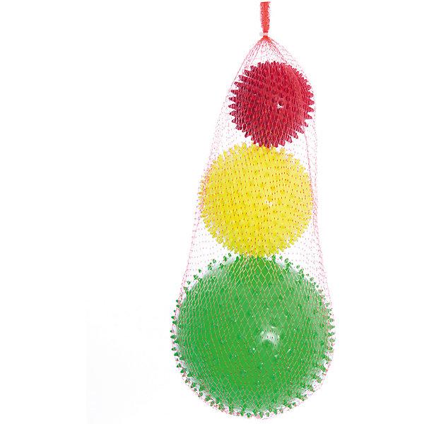 Набор мячей ёжиков Светофор, 8,5 см, 12 см, 18 см, МалышОКМячи детские<br>Характеристики товара:<br><br>• в комплекте: 3 мяча;<br>• диаметр мячей: 8,5 см;12 см; 18 см;<br>• материал: ПВХ;<br>• цвет: красный, желтый, зеленый;<br>• возраст: от 0 месяцев;<br>• размер упаковки: 56,5х18х18 см;<br>• вес: 310 грамм;<br>• страна бренда: Россия.<br><br>«Светофор» - набор из трех мячей ёжиков. Все мячи имеет разный размер, что поможет разнообразить игры с ребенком. Мячи подходят для массажа, игр и использования в воде.<br><br>Игра с мячами способствует развитию цветового восприятия, тактильных навыков, координации движений. При использовании шариков во время массажа улучшается кровоток и развитие нервной системы.<br><br>Мячи изготовлены из гипоаллергенных материалов.<br><br>Набор мячей ёжиков Светофор, 8,5 см, 12 см, 18 см, МалышОК можно купить в нашем интернет-магазине.<br><br>Ширина мм: 180<br>Глубина мм: 180<br>Высота мм: 565<br>Вес г: 310<br>Возраст от месяцев: 6<br>Возраст до месяцев: 2147483647<br>Пол: Унисекс<br>Возраст: Детский<br>SKU: 6894031