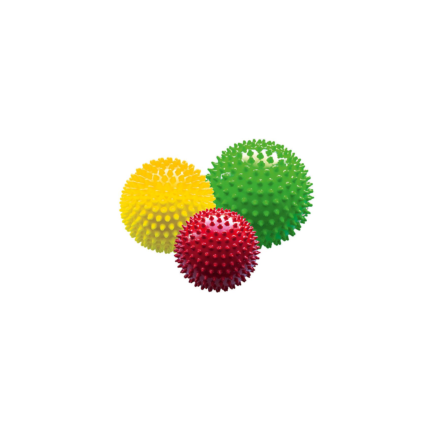 Набор из 3-х мячей ёжиков «Светофор», 8,5 см, МалышОКМячи детские<br>Характеристики товара:<br><br>• в комплекте: 3 мяча;<br>• диаметр мячей: 8,5 см;<br>• материал: ПВХ;<br>• цвет: красный, желтый, зеленый;<br>• возраст: от 0 месяцев;<br>• размер упаковки: 9х9х30 см;<br>• вес: 190 грамм;<br>• страна бренда: Россия.<br><br>Мячи ёжики предназначены для детского массажа, игр, а также для использования в воде. В набор «Светофор» входят 3 мяча диаметром 8,5 сантиметров. <br><br>Яркие мячи привлекут внимание малыша. Играя с мячами, ребенок развивает цветовое восприятие, тактильные ощущения, координацию движений и моторику рук.<br><br>Массаж с использованием мячей улучшает кровоток и положительно влияет на развитие нервной системы.<br><br>Мячи изготовлены из гипоаллергенных материалов.<br><br>Набор из 3-х мячей ёжиков «Светофор», 8,5 см, МалышОК можно купить в нашем интернет-магазине.<br><br>Ширина мм: 300<br>Глубина мм: 90<br>Высота мм: 90<br>Вес г: 190<br>Возраст от месяцев: 4<br>Возраст до месяцев: 2147483647<br>Пол: Унисекс<br>Возраст: Детский<br>SKU: 6894032