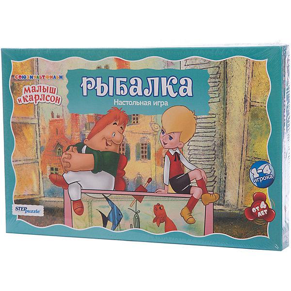 Настольная игра Рыбалка, Step PuzzleНастольные игры для всей семьи<br>Характеристики:<br><br>• размер упаковки: 37,5х4х40 см.;<br>• состав: картон, магниты;<br>• вес: 600 г.;<br>• для детей в возрасте: от 4 лет;<br>• количество игроков: 1-4;<br>• приблизительное время партии: 10-15 мин.;<br>• комплектация: поле-коробка, рыбки, таблицы, 4 удочки, правила игры;<br>• страна производитель: Россия.<br><br>Классическая игра типа «рыбалка» представлена известным брендом Step Puzzle (Степ Пазл) в новой концепции трехмерного измерения. Теперь ловить рыб можно в компании Малыша и Карлссона в настоящем аквариуме, а прочитав цифры можно познать тайны арифметики и научиться эффективно складывать при помощи таблиц. Игра выпущена на основании лицензии компании Союзмультфильм, обладающей правами на героев мультфильма.<br> <br>Вместе с Малышом и Карлссоном игроки встретятся с невероятными аквариумными рыбками, они изготовлены из высококачественного картона и легко ловятся на удочки из набора. В эту игру можно играть как одному, так и компанией до 4-х игроков, она не требует долго объяснения правил и отлично подойдёт для детского праздника или вечера с гостями. Предлагается четыре варианта игры: рыбалка на количество по очереди, рыбалка на время, ночная рыбалка и математическая рыбалка.<br><br>Играя в настольные игры дети развивают внимательность, координацию движения, память, навыки коммуникаций и не только. В игровой форме дети тренируются в решении задач и быстрому использованию правил, расширяя свой кругозор. В эту игру будет интересно играть и без взрослых.<br><br>Настольную игру «Рыбалка», Step Puzzle (Степ Пазл) можно купить в нашем интернет-магазине.<br><br>Ширина мм: 375<br>Глубина мм: 245<br>Высота мм: 40<br>Вес г: 608<br>Возраст от месяцев: 48<br>Возраст до месяцев: 2147483647<br>Пол: Унисекс<br>Возраст: Детский<br>SKU: 6894212