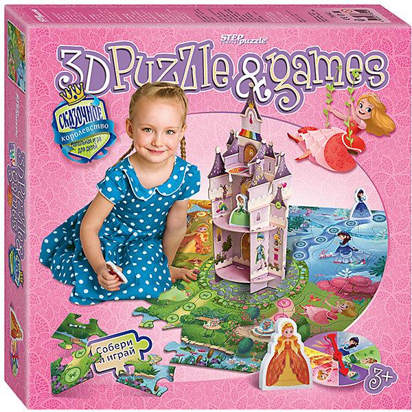 Настольная игра Cказочное королевство, Step PuzzleНастольные игры ходилки<br>Характеристики:<br><br>• размер упаковки: 31,5х7х31,5 см.;<br>• состав: картон, дерево;<br>• вес: 800 г.;<br>• для детей в возрасте: от 3-х лет;<br>• количество игроков: 2-4;<br>• приблизительное время партии: 15-25 мин.;<br>• комплектация: поле-пазл, картонный замок, стрелка, 5 фигурок, правила игры;<br>• страна производитель: Россия.<br><br>Классическая игра типа «ходилка» представлена известным брендом Step Puzzle (Степ Пазл) в новой концепции трехмерного измерения. Четыре принцессы спешат добраться до большого объемного замка каждая по своей тропинке. В игре нет кубика, но есть стрелка, показывающая, какая из принцесс должна двигаться. <br><br>Все фигурки изготовлены из качественного дерева, а детали поля представляют собой пазл из плотного картона. Поле разделено на четыре части, соответствующие временам года. Наряды и образы принцесс представляют собой сезоны. Красивые прорисовки поля позволяют разглядывать и любоваться им в ходе игры.  Игра отлично подойдёт для девочек от трёх лет. Правила игры просты в применении, для игры не нужно уметь считать. <br><br>Играя в настольные игры дети развивают внимательность, координацию движения, память, навыки коммуникаций и не только. В игровой форме дети тренируются в решении задач, использованию правил, расширяют свой кругозор. В эту игру будет интересно играть как вдвоём, так и вчетвером.<br><br>Настольную игру «Cказочное королевство», Step Puzzle (Степ Пазл) можно купить в нашем интернет-магазине.<br><br>Ширина мм: 315<br>Глубина мм: 315<br>Высота мм: 70<br>Вес г: 800<br>Возраст от месяцев: 36<br>Возраст до месяцев: 2147483647<br>Пол: Женский<br>Возраст: Детский<br>SKU: 6894214