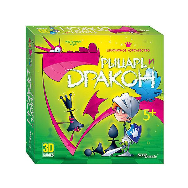 Настольная игра Рыцарь, дракон и шахматное королевство, Step PuzzleНастольные игры ходилки<br>Характеристики:<br><br>• размер упаковки: 31,5х7х31,5 см.;<br>• состав: картон, дерево, пластик;<br>• вес: 1450 г.;<br>• для детей в возрасте: от 5 лет;<br>• количество игроков: 2-4;<br>• приблизительное время партии: 15 - 25 мин.;<br>• комплектация: поле-пирамида, двухстороннее поле, шахматные фигуры, фишки рыцарей (4шт.), кубики, подставки, карточки с зaданиями, жетоны, корона, правила игры;<br>• страна производитель: Китай.<br><br>Классическая игра типа «ходилка» представлена известным брендом Step Puzzle (Степ Пазл) в новой концепции трехмерного измерения. Теперь можно ходить по многoуровневому королевству в поисках дракона в большом замке на самом верху горы.<br><br>Вместе с рыцарем игроки встретятся с невероятными приключениями, ведь в набор входят интересные карточки заданий, удобные подставки, яркие фишки и жетоны, наполняющие игру новыми сюжетными поворотами. У этой игры сразу два режима: «Бродилка», где нужно двигаться по полю согласно выпавшим цифрам на кубике; и «Шахматы» с заданиями от чемпионки мира по шахматам Костенюк Александры. Задания представлены с разными уровнями сложности и помогают научиться игре в шахматы начиная с основ.<br><br>Играя в настольные игры дети развивают внимательность, логическое мышление, память, навыки коммуникаций и не только. В игровой форме дети тренируются в решении задач и быстрому использованию правил, расширяя свой кругозор. В эту игру будет интересно играть и взрослым любителям средневековья и шахмат. <br><br>Настольную игру «Рыцарь, дракон и шахматное королевство», Step Puzzle (Степ Пазл) можно купить в нашем интернет-магазине.<br>Ширина мм: 315; Глубина мм: 315; Высота мм: 70; Вес г: 1450; Возраст от месяцев: 60; Возраст до месяцев: 2147483647; Пол: Унисекс; Возраст: Детский; SKU: 6894217;
