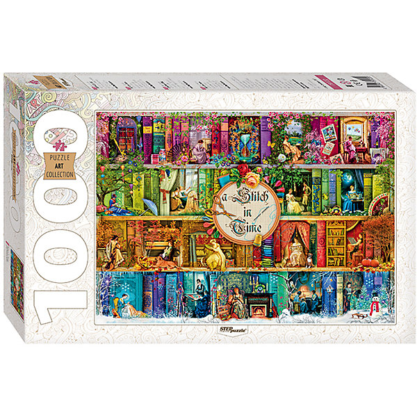 Пазл, 1000 деталей, Stitch in Time, Step PuzzleПазлы классические<br>Характеристики:<br><br>• количество деталей: 1000 шт.;<br>• размер упаковки: 33,0х21,5х5.5 см.;<br>• размер готовой картинки: 68,0х48.0 см.;<br>• состав: картон;<br>• вес: 620 г.;<br>• для детей в возрасте: от 7 лет;<br>• страна производитель: Россия.<br><br>Пазл «Stitch in Time» из серии «Art Collektion» в жесткой стильной упаковке характерной для этой коллекционной серии бренда «Steppuzzle» (Степ Пазл)compani станет прекрасным дополнением для коллекции пазлов.<br><br>На ярком, красочном пазле изображены вышивальщицы, которые занимаются рукоделием в любое время года. Соответствует высоким стандартам, которые подтверждены сертификатами качества.<br><br>Детали пазла очень красочные и хорошо собираются, картинки одинакового цвета немного усложняют сборку. Они подойдут не только деткам, но и родителям уже знакомым с пазлами и новичкам. Склеив части пазла он превратиться красивую картину. Если разобрать, то его можно собирать снова и снова.<br><br>Играя с пазлами дети развивают не только память, внимательность, логическое и пространственное мышление, моторику рук, усидчивость, терпение, но просто весело и с пользой проведут время.<br><br>Пазл «Stitch in Time» серии «Art Collektion» от компании «Steppuzzle» (Степ Пазл)company можно приобрести в нашем интернет-магазине.<br><br>Ширина мм: 330<br>Глубина мм: 215<br>Высота мм: 55<br>Вес г: 620<br>Возраст от месяцев: 84<br>Возраст до месяцев: 2147483647<br>Пол: Унисекс<br>Возраст: Детский<br>SKU: 6894220