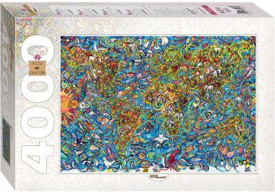 Степ Пазл Пазл, 4000 деталей, Карта мира , Step Puzzle
