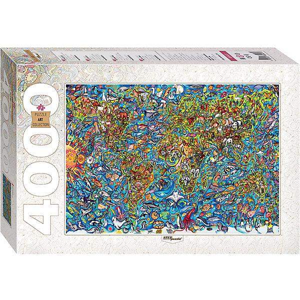 Пазл, 4000 деталей, Карта мира, Step PuzzleПазлы классические<br>Характеристики:<br><br>• количество деталей: 4000 шт.;<br>• размер упаковки: 40,0х27,0х8,5 см.;<br>• размер готовой картинки: 13,6х96.0 см.;<br>• состав: картон;<br>• вес: 2,0 кг.;<br>• для детей в возрасте: от 10 лет;<br>• страна производитель: Россия.<br><br>Пазл «Карта мира» из серии «Art Collektion» в жесткой стильной упаковке характерной для этой коллекционной серии бренда «Steppuzzle» (Степ Пазл)compani станет прекрасным дополнением для коллекции пазлов.<br><br>На ярком, красочном фоне изображен весь мир животных и растений населяющих нашу Землю. Пазл соответствует высоким стандартам, которые подтверждены сертификатами качества.<br><br>Детали пазла очень красочные и хорошо собираются, картинки одинакового цвета немного усложняют сборку. Они подойдут не только деткам, но и родителям уже знакомым с пазлами и новичкам. Склеив части пазла он превратиться красивую картину. Если разобрать, то его можно собирать снова и снова.<br><br>Играя с пазлами дети развивают не только память, внимательность, логическое и пространственное мышление, моторику рук, усидчивость, терпение, но просто весело и с пользой проведут время.<br><br>Пазл «Карта мира» серии «Art Collektion» от компании «Steppuzzle» (Степ Пазл)company можно приобрести в нашем интернет-магазине.<br>Ширина мм: 400; Глубина мм: 270; Высота мм: 85; Вес г: 2000; Возраст от месяцев: 120; Возраст до месяцев: 2147483647; Пол: Унисекс; Возраст: Детский; SKU: 6894222;