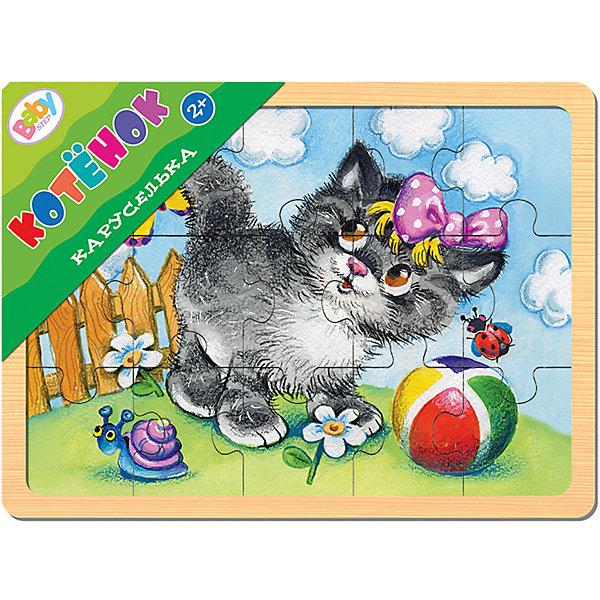 Игра из дерева Каруселька. Котёнок, Step PuzzleПазлы для малышей<br>Характеристики:<br><br>• количество деталей: 15 шт.;<br>• размер игрового планшета: 22,0х14,7 х0,8см; <br>• размер готовой картинки: 20х13,7 см; <br>• состав: дерево;<br>• вес: 187г.;<br>• для детей в возрасте: от 2лет;<br>• страна производитель: Россия.<br><br>Настольная развивающая игра из дерева «Каруселька.Котёнок» (Beby Step) от компании специализирующейся на создании пазлов и настольных игр бренда «Steppuzzle» (Степ Пазл) станет хорошим пополнением настольных игр вашего ребенка.<br><br>Игра «Каруселька» создана для детишек, только начинающих знакомство с пазлами. Простая яркая картинка с изображением котёнка привлечёт внимание, что позволит достичь  результата.<br><br>Детали пазла очень красочные и хорошо собираются.  Игра сделана из специально обработанного дерева, пазлы гладкие и безопасные.  Собрав части пазла в планшете они превратиться красивую картину. Если разобрать, то его можно собирать снова и снова.<br><br>Играя с пазлами дети развивают не только память, внимательность, логическое и пространственное мышление, моторику рук, усидчивость, терпение, но просто весело и с пользой проведут время.<br><br>Игру из дерева «Каруселька.Котёнок.»(Beby Step) от компании «Steppuzzle» (Степ Пазл)company можно приобрести в нашем интернет-магазине.<br>Ширина мм: 220; Глубина мм: 149; Высота мм: 8; Вес г: 187; Возраст от месяцев: 24; Возраст до месяцев: 2147483647; Пол: Унисекс; Возраст: Детский; SKU: 6894223;