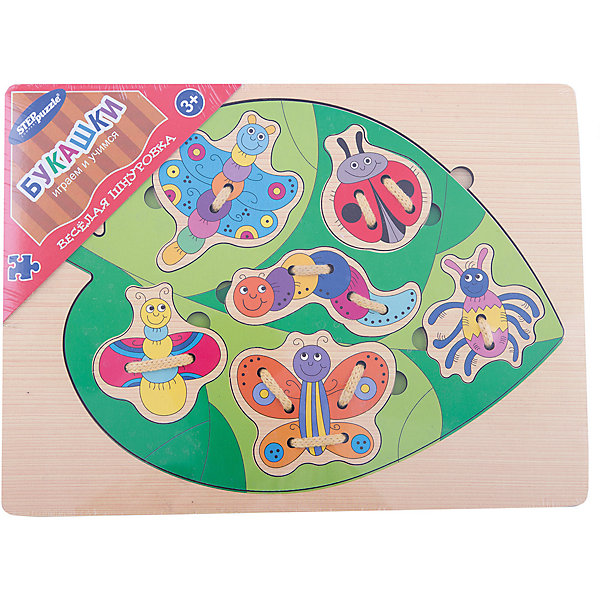 Игра из дерева Весёлая шнуровка. Букашки, Step PuzzleШнуровки<br>Характеристики:<br><br>• размер игрового планшета: 30,0х22,0х0,8см;<br>• размер упаковки: 36,0х27,0х0,2см;<br>• состав: дерево;<br>• вес: 380г.;<br>• для детей в возрасте: от 3лет;<br>• страна производитель: Россия.<br><br>Игра «Веселая шнуровка. Букашки.» от компании специализирующейся на создании пазлов и настольных игр бренда «Steppuzzle» (Степ Пазл)станет хорошим пополнением игр вашего ребенка.<br><br>Игра «Веселая шнуровка» представляет собой деревянный планшет. Он многофункционален и позволяет самостоятельно выбирать варианты игры. В комплект входят шесть разных насекомых, которых можно соединять в хоровод, рисовать на бумаге и раскрашивать.<br><br>Игра сделана из специально подготовленной древесины, большие детали удобные для манипулирования детскими руками.<br><br>Играя в «Букашки» дети развивают память, внимательность, логическое и пространственное мышление,мелкую моторику рук, усидчивость, терпение, согласованные действия обоих рук, координируются движения глаз и руки.<br><br>Игру из дерева «Веселая шнуровка. <br>Букашки.» можно приобрести в нашем интернет-магазине.<br>Ширина мм: 300; Глубина мм: 220; Высота мм: 8; Вес г: 380; Возраст от месяцев: 36; Возраст до месяцев: 2147483647; Пол: Унисекс; Возраст: Детский; SKU: 6894231;