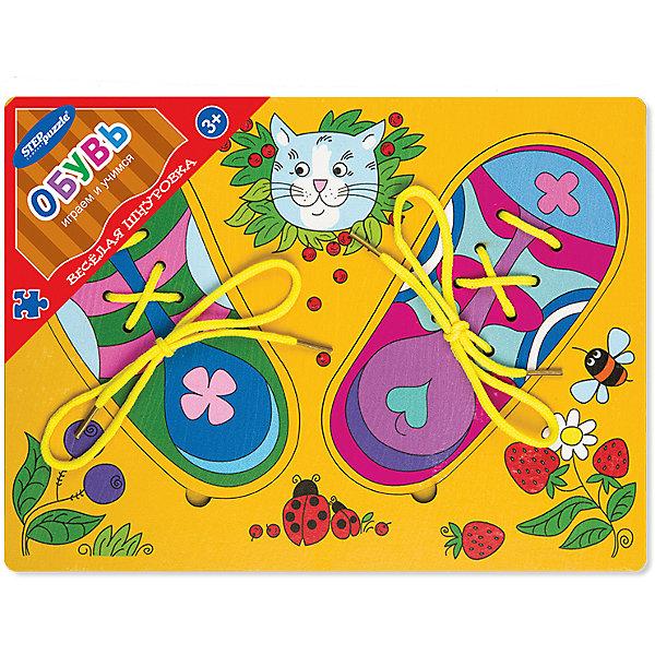 Игра из дерева Весёлая шнуровка. Обувь, Step PuzzleШнуровки<br>Характеристики:<br><br>• размер игрового планшета: 30,0х22,0х0,8см;<br>• размер упаковки: 36,0х27,0х0,2см;<br>• состав: дерево;<br>• вес: 380г.;<br>• для детей в возрасте: от 3лет;<br>• страна производитель: Россия.<br><br>Игра «Весёлая шнуровка. Обувь.» от компании специализирующейся на создании пазлов и настольных игр бренда «Steppuzzle» (Степ Пазл)станет хорошим пополнением игр вашего ребенка.<br><br>Игра «Весёлая шнуровка» представляет собой деревянный планшет. Он многофункционален и позволяет самостоятельно выбирать варианты игры. В комплект входят ботиночки, которые надо зашнуровать по своему вкусу. Еще их можно рисовать и раскрашивать на бумаге.<br><br>Игра сделана из специально подготовленной древесины, очень гладкая и без зацепок.<br><br>Играя в «Весёлую шнуровку» дети развивают память, внимательность, логическое и пространственное мышление, мелкую моторику рук, усидчивость, терпение, согласованные действия обеих рук, координируются движения глаз и руки.<br><br>Игру из дерева «Веселая шнуровка.Обувь.» можно приобрести в нашем интернет-магазине.<br><br>Ширина мм: 300<br>Глубина мм: 220<br>Высота мм: 8<br>Вес г: 380<br>Возраст от месяцев: 36<br>Возраст до месяцев: 2147483647<br>Пол: Унисекс<br>Возраст: Детский<br>SKU: 6894232