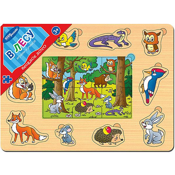 Игра из дерева Весёлое лото. В лесу, Step PuzzleЛото<br>Характеристики:<br><br>• размер игрового планшета: 30,0х22,0х0,8см;<br>• размер упаковки: 36,0х27,0х0,2см;<br>• состав: дерево;<br>• вес: 380г.;<br>• для детей в возрасте: от 3лет;<br>• страна производитель: Россия.<br><br>Игра из дерева «Веселое лото.В лесу» от компании специализирующейся на создании пазлов и настольных игр бренда «Steppuzzle» (Степ Пазл)станет хорошим пополнением настольных игр вашего ребенка.<br><br>Игра «Веселое лото. В лесу» представляет собой деревянный планшет. Он многофункционален и позволяет самостоятельно выбирать варианты игры. Планшет познакомит ребенка с разнообразными  животными и птицами населяющими лес.<br><br>Игра сделана из специально обработанного дерева, крупные детали удобные для манипулирования детскими руками.<br><br>Играя с планшетом дети развивают не только память, внимательность, логическое и пространственное мышление, моторику рук, усидчивость, терпение, но просто весело и с пользой проводят время.<br><br>Игру из дерева «Веселое лото. В лесу» можно приобрести в нашем интернет-магазине.<br><br>Ширина мм: 300<br>Глубина мм: 220<br>Высота мм: 8<br>Вес г: 380<br>Возраст от месяцев: 36<br>Возраст до месяцев: 2147483647<br>Пол: Унисекс<br>Возраст: Детский<br>SKU: 6894233
