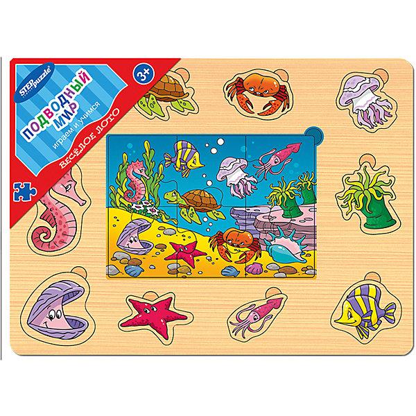 Игра из дерева Весёлое лото. Подводный мир, Step PuzzleЛото<br>Характеристики:<br><br>• размер игрового планшета: 30,0х22,0х0,8см;<br>• размер упаковки: 36,0х27,0х0,2см;<br>• состав: дерево;<br>• вес: 380г.;<br>• для детей в возрасте: от 3лет;<br>• страна производитель: Россия.<br><br>Игра из дерева «Веселое лото.Подводный мир» от компании специализирующейся на создании пазлов и настольных игр бренда «Steppuzzle» (Степ Пазл)станет хорошим пополнением  игр вашего ребенка.<br><br>Игра «Веселое лото. Подводный мир» представляет собой деревянный планшет. Он многофункционален и позволяет самостоятельно выбирать варианты игры. С планшетом ребенок познакомится с разными обитателями морских глубин.<br><br>Игра сделана из специально подготовленной древесины, большие детали удобные для манипулирования детскими руками.<br><br>Играя в «Веселое лото» дети развивают не только память, внимательность, логическое и пространственное мышление, моторику рук, усидчивость, терпение, но просто весело и с пользой проводят время.<br><br>Игру из дерева «Веселое лото. Подводный мир.» можно приобрести в нашем интернет-магазине.<br><br>Ширина мм: 300<br>Глубина мм: 220<br>Высота мм: 8<br>Вес г: 380<br>Возраст от месяцев: 36<br>Возраст до месяцев: 2147483647<br>Пол: Унисекс<br>Возраст: Детский<br>SKU: 6894235