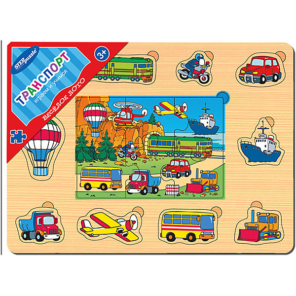 Игра из дерева Весёлое лото. Транспорт, Step PuzzleРамки-вкладыши<br>Характеристики:<br><br>• размер игрового планшета: 30,0х22,0х0,8см;<br>• размер упаковки: 36,0х27,0х0,2см;<br>• состав: дерево;<br>• вес: 380г.;<br>• для детей в возрасте: от 3лет;<br>• страна производитель: Россия.<br><br>Игра из дерева «Веселое лото.Транспорт» от компании специализирующейся на создании пазлов и настольных игр бренда «Steppuzzle» (Степ Пазл)станет хорошим пополнением  игр вашего ребенка.<br><br>Игра «Веселое лото. Транспорт» представляет собой деревянный планшет. Он многофункционален и позволяет самостоятельно выбирать варианты игры. С планшетом ребенок познакомится с воздушным и наземным траспортом.<br><br>Игра сделана из специально подготовленной древесины, большие детали удобные для манипулирования детскими руками.<br><br>Играя в «Веселое лото» дети развивают не только память, внимательность, логическое и пространственное мышление, моторику рук, усидчивость, терпение, но просто весело и с пользой проводят время.<br><br>Игру из дерева «Веселое лото. Транспорт.» можно приобрести в нашем интернет-магазине.<br>Ширина мм: 300; Глубина мм: 220; Высота мм: 8; Вес г: 380; Возраст от месяцев: 36; Возраст до месяцев: 2147483647; Пол: Мужской; Возраст: Детский; SKU: 6894236;