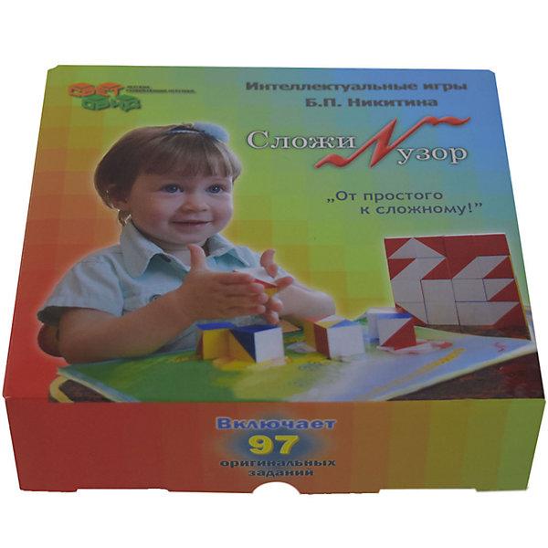 Сложи узор, (коробка картон), СветовидМетодики раннего развития<br>Игра состоит из 16 одинаковых кубиков. Все 6 граней каждого кубика окрашены по-разному в 4 цвета. Это позволяет составлять из них 1-, 2-, 3- и даже 4-цветные узоры в громадном количестве вариантов. Эти узоры напоминают контуры различных предметов, картин, которым дети любят давать названия. В игре с кубиками дети выполняют 3 вида заданий.<br><br>Ширина мм: 131<br>Глубина мм: 140<br>Высота мм: 42<br>Вес г: 450<br>Возраст от месяцев: 36<br>Возраст до месяцев: 2147483647<br>Пол: Унисекс<br>Возраст: Детский<br>SKU: 6894275