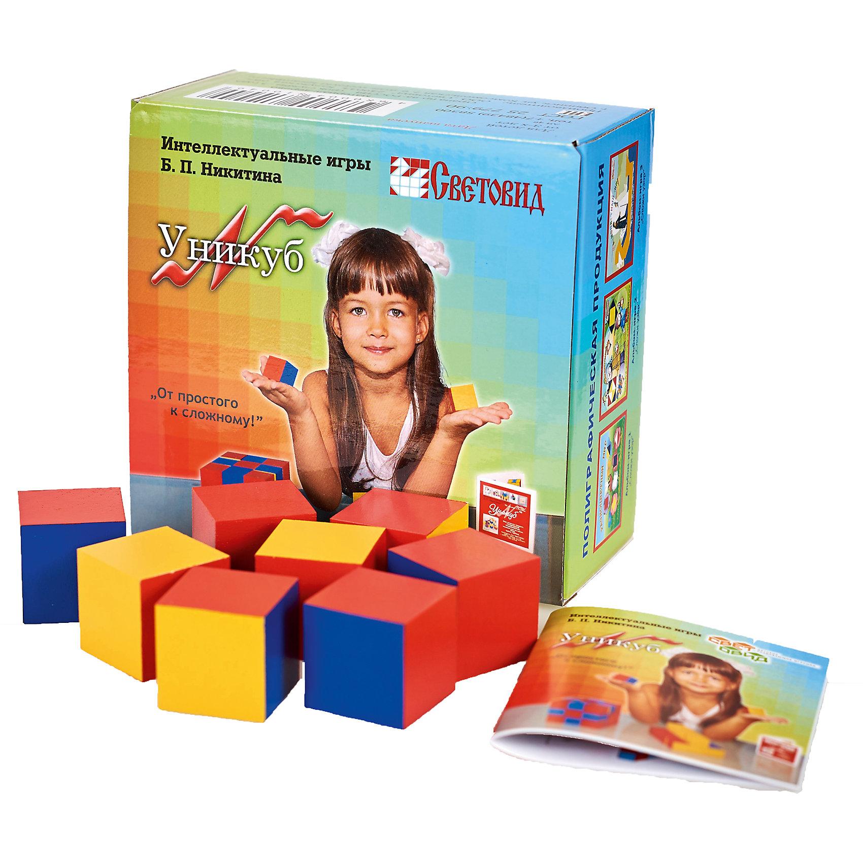 Уникуб, (коробка картон), СветовидРазвивающие игры<br>Игра Уникуб уникальна по своим возможностям. Она самая сложная и интересная из всех игр Никитина, но при этом очень увлекательна. Задания в игре расположены в порядке возрастания сложности, поэтому овладение этой игрой постепенное. Игра обладает колоссальным развивающим потенциалом и учит ребенка логическому мышлению, умению устного счета, образного мышления, усидчивости и как и все игры Никитина анализу и самоанализу. Причем игра будет интересна не только детям, но и взрослым.<br><br>Ширина мм: 136<br>Глубина мм: 140<br>Высота мм: 72<br>Вес г: 600<br>Возраст от месяцев: 36<br>Возраст до месяцев: 2147483647<br>Пол: Унисекс<br>Возраст: Детский<br>SKU: 6894277
