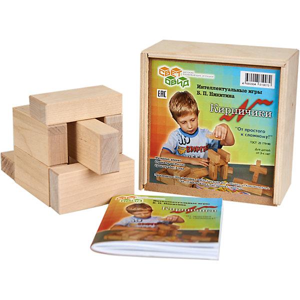 Кирпичики, (коробка фанера), СветовидМетодики раннего развития<br>Игра Кирпичики — своеобразная гимнастика для ума. Она не только знакомит детей с основами черчения, но, главное, развивает пространственное мышление ребенка. Материалом для игры служат 8 деревянных кирпичиков и 30 чертежей-заданий, по которым надо строить модели.<br><br>Ширина мм: 138<br>Глубина мм: 138<br>Высота мм: 65<br>Вес г: 450<br>Возраст от месяцев: 36<br>Возраст до месяцев: 2147483647<br>Пол: Унисекс<br>Возраст: Детский<br>SKU: 6894278