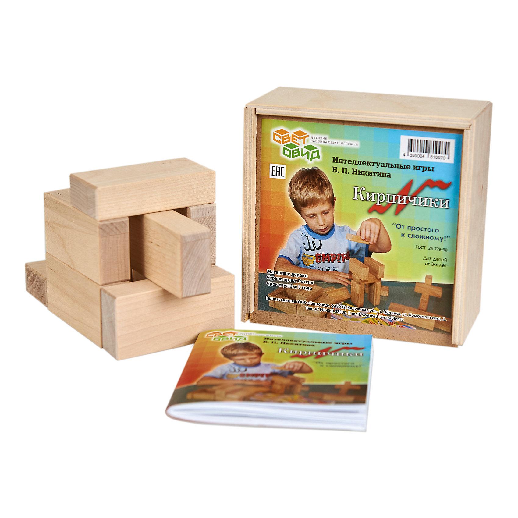 Кирпичики, (коробка фанера), СветовидРазвивающие игры<br>Игра Кирпичики — своеобразная гимнастика для ума. Она не только знакомит детей с основами черчения, но, главное, развивает пространственное мышление ребенка. Материалом для игры служат 8 деревянных кирпичиков и 30 чертежей-заданий, по которым надо строить модели.<br><br>Ширина мм: 138<br>Глубина мм: 138<br>Высота мм: 65<br>Вес г: 450<br>Возраст от месяцев: 36<br>Возраст до месяцев: 2147483647<br>Пол: Унисекс<br>Возраст: Детский<br>SKU: 6894278