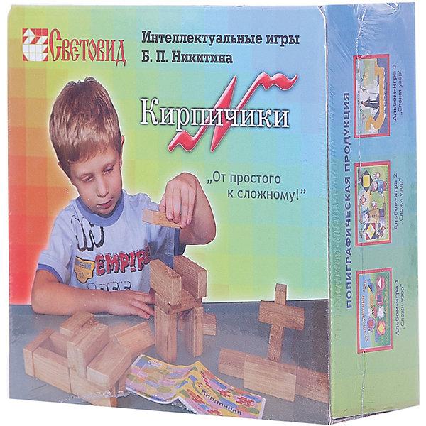 Кирпичики, (коробка картон), СветовидМетодики раннего развития<br>Игра Кирпичики — своеобразная гимнастика для ума. Она не только знакомит детей с основами черчения, но, главное, развивает пространственное мышление ребенка. Материалом для игры служат 8 деревянных кирпичиков и 30 чертежей-заданий, по которым надо строить модели.<br><br>Ширина мм: 138<br>Глубина мм: 140<br>Высота мм: 52<br>Вес г: 400<br>Возраст от месяцев: 36<br>Возраст до месяцев: 2147483647<br>Пол: Унисекс<br>Возраст: Детский<br>SKU: 6894279