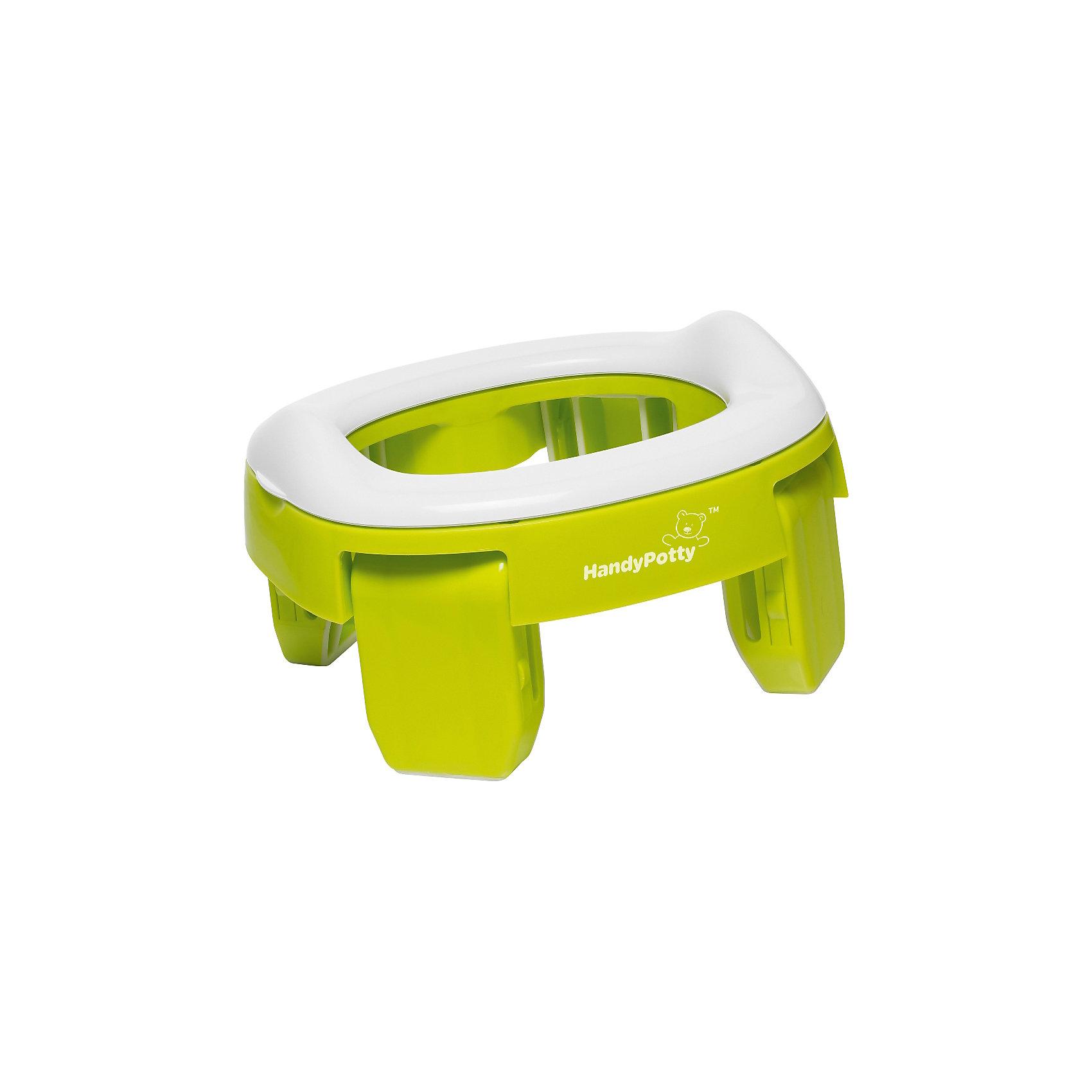 Дорожный горшок и насадка на унитаз, HandyPotty , лаймГоршки, сиденья для унитаза, стульчики-подставки<br>Прогулки и путешествия с ребенком станут намного комфортнее с дорожным горшком HandyPotty. Это простое приспособление сочетает в себе функции трех аксессуаров: обычного горшка, дорожного горшка и адаптера для унитаза, что позволяет использовать HandyPotty длительное время.<br>Многофункциональность складного горшка обеспечивает продуманная конструкция: широкое пластиковое сиденье установлено на четыре широкие устойчивые ножки. Сиденье имеет небольшой барьер, предотвращающий разбрызгивание. Чтобы выбрать нужную функцию, достаточно изменить положение ножек и воспользоваться дополнительными аксессуарами, такими как силиконовая вкладка. Итак, горшок HandyPotty может функционировать в качестве трех полноценных предметов детской гигиены: обычный горшок, складной дорожный горшок, адаптер на унитаз.Дорожный горшок HandyPotty имеет несколько важных преимуществ:<br>Дорожный горшок – используется со специальными одноразовыми сменными пакетами, которые устанавливаются на место вкладки, а после использования просто утилизируются, как подгузники. Пакеты кладутся под сиденье, так что ребенок не испытывает никаких дискомфортных ощущений. Для удобства переноски ножки горшка складываются внутрь, так что приспособление занимает минимум места. <br>Адаптер на унитаз. Вы можете использовать HandyPotty в качестве детского сиденья на унитаз, просто развернув ножки в стороны до упора. Это<br>позволяет ребенку безопасно сидеть на взрослом унитазе, а само сиденье предотвращает контакт с бактериями, обитающими на крышке унитаза.<br>Легкая, но прочная конструкция. Горшок выполнен аккуратно и надежно, поэтому он не сломается даже после многократного использования.<br>Возможность использовать где угодно. <br>Компактность в сложенном виде. Горшок HandyPotty легко поместится даже в небольшую сумку.<br>Небольшой вес. Вы сможете отправиться на прогулку или в путешествие налегке, так как почти неве