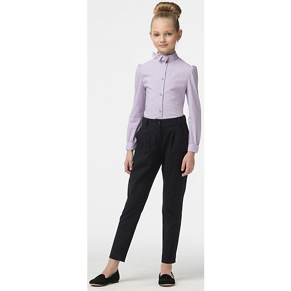 Блузка для девочки СменаБлузки и рубашки<br>Блузка из смесового хлопка полуприлегающего силуэта с воротником-стойкой и длинными втачными рукавами, присборенными у плеча и манжета. Воротник дополнен небольшим бантиком сбоку.<br>Состав:<br>70% Хлопок,40% Полиэстер,3% Полиуретан<br><br>Ширина мм: 186<br>Глубина мм: 87<br>Высота мм: 198<br>Вес г: 197<br>Цвет: лиловый<br>Возраст от месяцев: 144<br>Возраст до месяцев: 156<br>Пол: Женский<br>Возраст: Детский<br>Размер: 158,122,164,152,146,140,134,128<br>SKU: 6895389