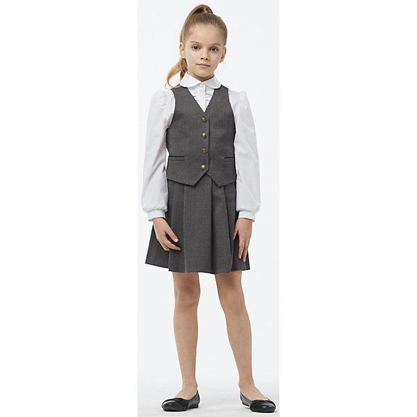 Комплект: жилет и юбка для девочки СменаПиджаки и костюмы<br>Состав:<br>17% Шерсть,20% Вискоза,61% Полиэстер,2% Спандекс.  Подкладка : 50% Вискоза,50% Полиэстер<br><br>Ширина мм: 207<br>Глубина мм: 10<br>Высота мм: 189<br>Вес г: 183<br>Цвет: серый<br>Возраст от месяцев: 96<br>Возраст до месяцев: 108<br>Пол: Женский<br>Возраст: Детский<br>Размер: 134,140,128,164,158,152,146<br>SKU: 6895398