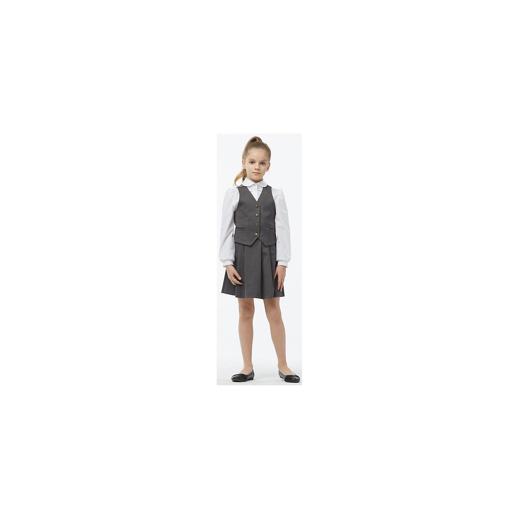 Комплект: жилет и юбка для девочки СменаПиджаки и костюмы<br>Состав:<br>17% Шерсть,20% Вискоза,61% Полиэстер,2% Спандекс.  Подкладка : 50% Вискоза,50% Полиэстер<br><br>Ширина мм: 207<br>Глубина мм: 10<br>Высота мм: 189<br>Вес г: 183<br>Цвет: серый<br>Возраст от месяцев: 108<br>Возраст до месяцев: 120<br>Пол: Женский<br>Возраст: Детский<br>Размер: 140,134,146,152,158,164,128<br>SKU: 6895398