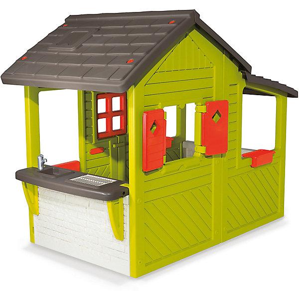 Домик садовода 2015, SmobyДомики и мебель<br>Характеристики:<br><br>• устойчив к УФ-лучам и морозу;<br>• все окна и ставни открываются;<br>• легко моется;<br>• размер домика: 109х185х148 см;<br>• материал: пластик;<br>• высота дверного проёма: 95 см;<br>• высота стены с раковиной: 52 см;<br>• батарейки: ААА - 2 шт. (не входят в комплект);<br>• размер упаковки: 144х40х87 см;<br>• вес: 31 кг.<br><br>Домик садовода от Smoby предназначен для игр на детской площадке, дачном или загородном участке. Конструкция представляет собой вместительный дом с открывающимися дверями и ставнями. Чтобы разнообразить игры ребенка, в конструкции домика предусмотрены подоконники, раковина, гриль и электрический звонок.<br><br>Войти в дом можно с помощью ворот. На воротах расположено специальное отверстие для почты. Крыша домика напоминает настоящую черепичную крышу, а сам дом для большей реалистичности выполнен под дерево.<br><br>Игрушечная раковина и гриль позволят ребенку устроить веселый пикник для друзей и любимых игрушек. В лотке для цветов можно посадить настоящие цветы или травы, чтобы научить ребенка ухаживать за растениями.<br><br>Домик изготовлен из высококачественного пластика. Он устойчив к морозам и выдерживает жару, сохраняя яркость цвета. Конструкция не деформируется и легко очищается от загрязнений. <br><br>Размер домика - 109х185х148 сантиметров. Для работы звонка необходимы 2 батарейки ААА (не входят в комплект).<br><br>Домик садовода 2015, Smoby (Смоби) можно купить в нашем интернет-магазине.<br>Ширина мм: 1430; Глубина мм: 830; Высота мм: 380; Вес г: 31850; Возраст от месяцев: 36; Возраст до месяцев: 2147483647; Пол: Унисекс; Возраст: Детский; SKU: 6896474;