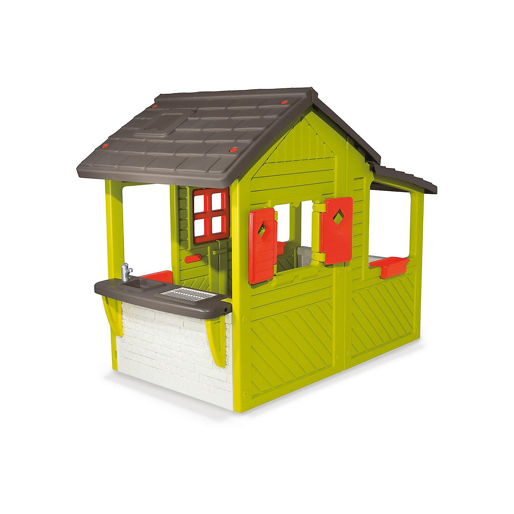Домик садовода 2015, SmobyДомики и мебель<br>Характеристики:<br><br>• устойчив к УФ-лучам и морозу;<br>• все окна и ставни открываются;<br>• легко моется;<br>• размер домика: 109х185х148 см;<br>• материал: пластик;<br>• высота дверного проёма: 95 см;<br>• высота стены с раковиной: 52 см;<br>• батарейки: ААА - 2 шт. (не входят в комплект);<br>• размер упаковки: 144х40х87 см;<br>• вес: 31 кг.<br><br>Домик садовода от Smoby предназначен для игр на детской площадке, дачном или загородном участке. Конструкция представляет собой вместительный дом с открывающимися дверями и ставнями. Чтобы разнообразить игры ребенка, в конструкции домика предусмотрены подоконники, раковина, гриль и электрический звонок.<br><br>Войти в дом можно с помощью ворот. На воротах расположено специальное отверстие для почты. Крыша домика напоминает настоящую черепичную крышу, а сам дом для большей реалистичности выполнен под дерево.<br><br>Игрушечная раковина и гриль позволят ребенку устроить веселый пикник для друзей и любимых игрушек. В лотке для цветов можно посадить настоящие цветы или травы, чтобы научить ребенка ухаживать за растениями.<br><br>Домик изготовлен из высококачественного пластика. Он устойчив к морозам и выдерживает жару, сохраняя яркость цвета. Конструкция не деформируется и легко очищается от загрязнений. <br><br>Размер домика - 109х185х148 сантиметров. Для работы звонка необходимы 2 батарейки ААА (не входят в комплект).<br><br>Домик садовода 2015, Smoby (Смоби) можно купить в нашем интернет-магазине.<br><br>Ширина мм: 1430<br>Глубина мм: 830<br>Высота мм: 380<br>Вес г: 31850<br>Возраст от месяцев: 36<br>Возраст до месяцев: 2147483647<br>Пол: Унисекс<br>Возраст: Детский<br>SKU: 6896474