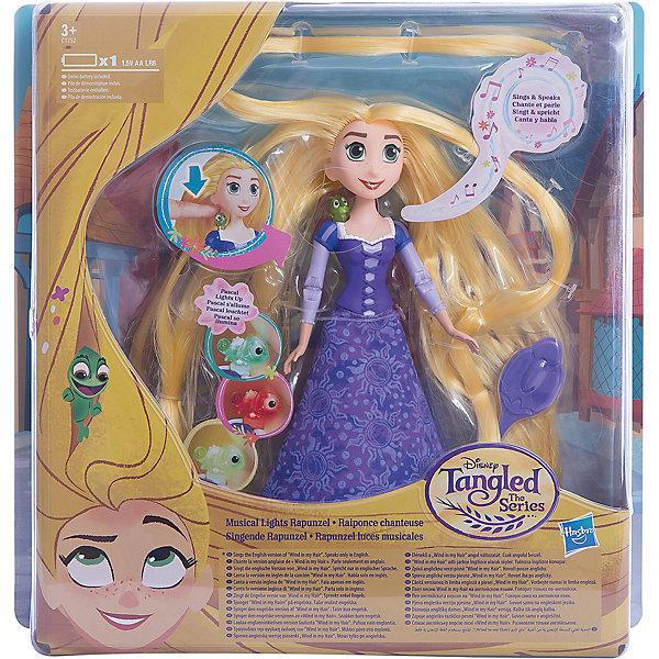 Кукла Hasbro Disney Princess, Рапунцель. Запутанная история, Поющая РапунцельПринцессы Дисней<br>Характеристики товара:<br><br>• возраст: от 3 лет;<br>• материал: пластик, текстиль;<br>• в комплекте: кукла, аксессуары;<br>• тип батареек: 1 батарейка АА;<br>• наличие батареек: демонстрационные в комплекте;<br>• размер упаковки: 27,9х27,9х5,7 см;<br>• вес упаковки: 219 гр.;<br>• страна производитель: Китай.<br><br>Поющая кукла «Рапунцель. Запутанная история» Disney Princess Hasbro - героиня известного мультфильма Дисней очаровательная Рапунцель с длинными золотистыми волосами. Как и в мультфильме, у Рапунцель длинные мягкие волосы, которые девочка может расчесывать, заплетать в косички и украшать аксессуарами. На плече куклы сидит ее верный спутник — хамелеон Паскаль. Нажав на него, он загорится разными огоньками, а Рапунцель споет песенку.<br><br>Поющую куклу «Рапунцель. Запутанная история» Disney Princess Hasbro можно приобрести в нашем интернет-магазине.<br><br>Ширина мм: 57<br>Глубина мм: 279<br>Высота мм: 279<br>Вес г: 219<br>Возраст от месяцев: 36<br>Возраст до месяцев: 72<br>Пол: Женский<br>Возраст: Детский<br>SKU: 6898123