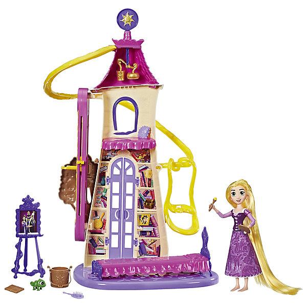 Набор с куклой Hasbro Disney Princess, Рапунцель. Запутанная история, Замок РапунцельКуклы<br>В сериале Рапунцель:Запутанная история  Рапунцель ищет приключения внутри и снаружи стен замка.В этом волшебном замке девочка может помочь Рапунцель спустится прямо к себе в спальню по волосам. Паскаль может кататься в корзинке между этажами замка. Подними солнечные часы на крышу замка и фонарики закружатся. В комплект входят: кровать, щетка для волос, кисть для рисования, мольберт, фонарик и аксессуары для волос.<br><br>Ширина мм: 89<br>Глубина мм: 406<br>Высота мм: 356<br>Вес г: 1185<br>Возраст от месяцев: 36<br>Возраст до месяцев: 72<br>Пол: Женский<br>Возраст: Детский<br>SKU: 6898125