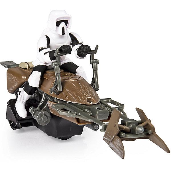 Скоростной байк на р/у, Air Hogs, Звёздные войныГоночные машинки и мотоциклы<br>Скоростной байк, Air Hogs, Звёздные войны - это радиоуправляемая машинка с антуражным корпусом, световыми и звуковыми эффектами.<br>Модель спидербайка, оседланного имперским штурмовиком, какие вы могли видеть на Эндоре в шестом эпизоде, без сомнения понравится вашему ребенку. Теперь у него есть возможность воссоздать любимые сцены из фильма. Спидер - антигравитационный транспорт из вселенной Звездных войн. Антигравитационные технологии, увы, пока существуют только в кино, но плавный ход небольших колес радиоуправляемой игрушки создает правдивую иллюзию полета. Модель может похвастаться высококачественным детализированным корпусом, прекрасной маневренностью и чувствительным управлением, а также световыми и звуковыми эффектами.<br><br>Дополнительная информация:<br><br>- В наборе: спидер, пульт<br>- Размер: 20-22 см.<br>- Батарейки: 6 х AA/LR6 1.5V (в комплект не входят)<br>- Материал: пластик<br>- Размер упаковки: 14 х 15 х 3,5 см.<br>- Вес: 563 гр.<br><br>Скоростной байк, Air Hogs, Звёздные войны можно купить в нашем интернет-магазине.<br>Ширина мм: 140; Глубина мм: 150; Высота мм: 350; Вес г: 563; Возраст от месяцев: 72; Возраст до месяцев: 144; Пол: Мужской; Возраст: Детский; SKU: 6899737;