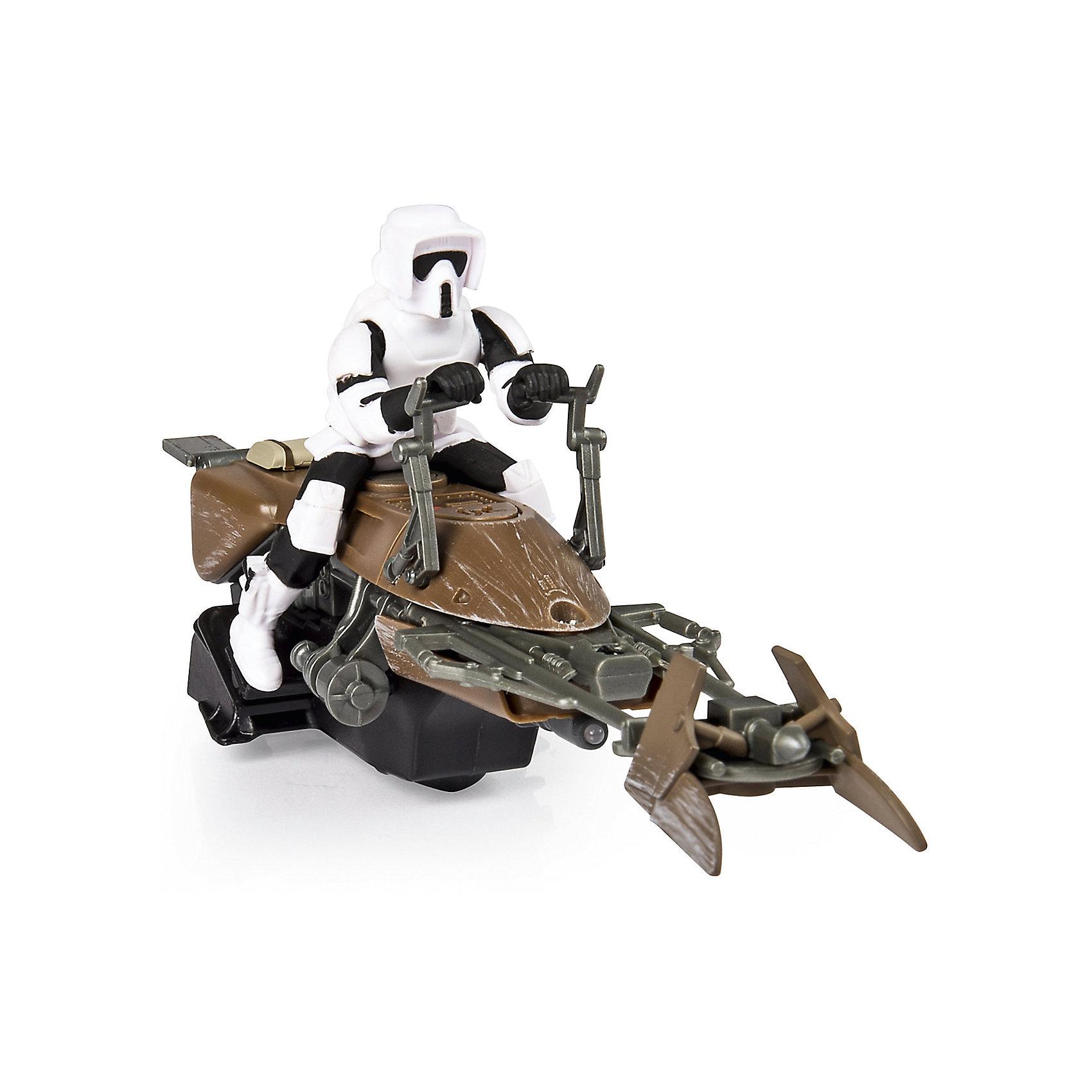 Скоростной байк на р/у, Air Hogs, Звёздные войныЗвездные войны<br>Скоростной байк, Air Hogs, Звёздные войны - это радиоуправляемая машинка с антуражным корпусом, световыми и звуковыми эффектами.<br>Модель спидербайка, оседланного имперским штурмовиком, какие вы могли видеть на Эндоре в шестом эпизоде, без сомнения понравится вашему ребенку. Теперь у него есть возможность воссоздать любимые сцены из фильма. Спидер - антигравитационный транспорт из вселенной Звездных войн. Антигравитационные технологии, увы, пока существуют только в кино, но плавный ход небольших колес радиоуправляемой игрушки создает правдивую иллюзию полета. Модель может похвастаться высококачественным детализированным корпусом, прекрасной маневренностью и чувствительным управлением, а также световыми и звуковыми эффектами.<br><br>Дополнительная информация:<br><br>- В наборе: спидер, пульт<br>- Размер: 20-22 см.<br>- Батарейки: 6 х AA/LR6 1.5V (в комплект не входят)<br>- Материал: пластик<br>- Размер упаковки: 14 х 15 х 3,5 см.<br>- Вес: 563 гр.<br><br>Скоростной байк, Air Hogs, Звёздные войны можно купить в нашем интернет-магазине.<br><br>Ширина мм: 140<br>Глубина мм: 150<br>Высота мм: 350<br>Вес г: 563<br>Возраст от месяцев: 72<br>Возраст до месяцев: 144<br>Пол: Мужской<br>Возраст: Детский<br>SKU: 6899737