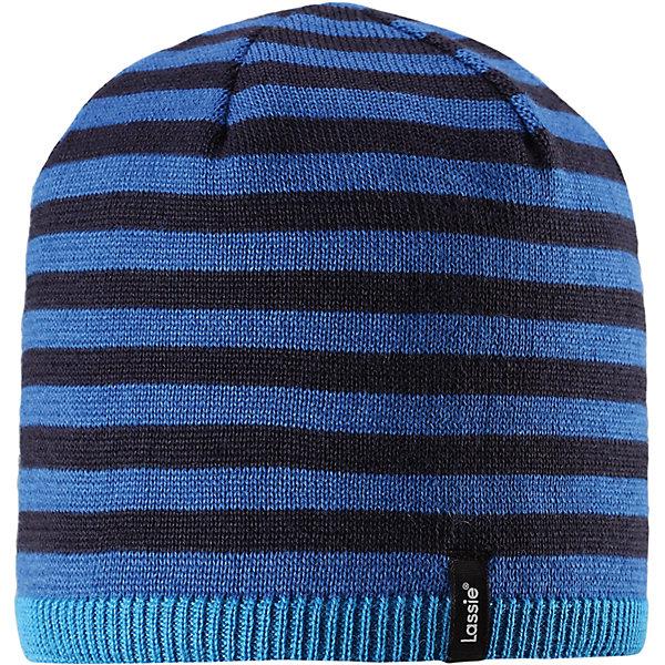 Шапка LassieШапки и шарфы<br>Характеристики товара:<br><br>• цвет: синий;<br>• состав: 50% шерсть, 50% полиакрил;<br>• подкладка: 100% полиэстер, флис;<br>• без утеплителя;<br>• сезон: демисезон;<br>• температурный режим: от +5С;<br>• особенности: в полоску, шерстяная;<br>• мягкая и теплая ткань из смеси шерсти;<br>• ветронепроницаемые вставки в области ушей; <br>• сплошная подкладка: мягкий теплый флис;<br>• светоотражающие детали; <br>• страна бренда: Финляндия;<br>• страна изготовитель: Китай;<br><br>Эта теплая детская шапка в яркую полоску связана из теплой полушерсти и подбита плотной и мягкой подкладкой из джерси. Ветронепроницаемые вставки в области ушей обеспечивают дополнительную защиту от холодного ветра, а спереди на шапке размещена светоотражающая эмблема Lassie®.<br><br>Шапку Lassie (Ласси) можно купить в нашем интернет-магазине.<br><br>Ширина мм: 89<br>Глубина мм: 117<br>Высота мм: 44<br>Вес г: 155<br>Цвет: синий<br>Возраст от месяцев: 72<br>Возраст до месяцев: 144<br>Пол: Мужской<br>Возраст: Детский<br>Размер: 54-56,50-52,46-48<br>SKU: 6900937