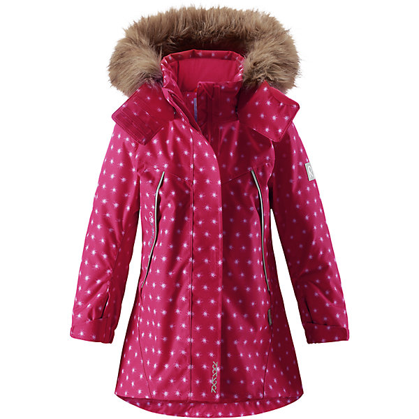 Куртка Reimatec® Reima Muhvi для девочкиЗимние куртки<br>Характеристики товара:<br><br>• цвет: розовый;<br>• состав: 100% полиэстер;<br>• подкладка: 100% полиэстер;<br>• утеплитель: 160 г/м2<br>• температурный режим: от 0 до -20С;<br>• сезон: зима; <br>• водонепроницаемость: 15000 мм;<br>• воздухопроницаемость: 7000 мм;<br>• износостойкость: 30000 циклов (тест Мартиндейла);<br>• водо- и ветронепроницаемый, дышащий и грязеотталкивающий материал;<br>• все швы проклеены и водонепроницаемы;<br>• гладкая подкладка из полиэстера;<br>• эластичные манжеты;<br>• застежка: молния с защитой подбородка;<br>• безопасный съемный и регулируемый капюшон на кнопках;<br>• съемный искусственный мех на капюшоне;<br>• регулируемые манжеты и подол;<br>• два кармана на кнопках;<br>• внутренний нагрудный карман;<br>• карман с креплением для сенсора ReimaGO®;<br>• светоотражающие детали;<br>• страна бренда: Финляндия;<br>• страна изготовитель: Китай.<br><br>Теплая, водо и ветронепроницаемая детская зимняя куртка Reimatec®. Материал отталкивает грязь и хорошо дышит, так что ваш ребенок не вспотеет. Все швы проклеены, водонепроницаемы. Эта объемная модель отлично сидит благодаря сборке сзади на талии, а также регулируемым манжетам и подолу. Эта куртка с подкладкой из гладкого полиэстера легко надевается. С помощью удобной системы кнопок Play Layers® к куртке можно присоединять разнообразную одежду промежуточного слоя Reima®. <br><br>В куртке предусмотрен съемный капюшон, отороченный съемной отделкой из искусственного меха, и множество светоотражающих деталей. В карманах на молнии можно хранить все самое важное, например, смартфон можно положить в нагрудный карман или в два передних кармана на молнии. А для сенсора ReimaGO имеется специальный карман с кнопками. Эта куртка очень проста в уходе, ведь ее можно сушить в стиральной машине.<br><br>Куртку Muhvi для девочки Reimatec® Reima от финского бренда Reima (Рейма) можно купить в нашем интернет-магазине.<br><br>Ширина мм: 356<br>Глубина мм: 10<