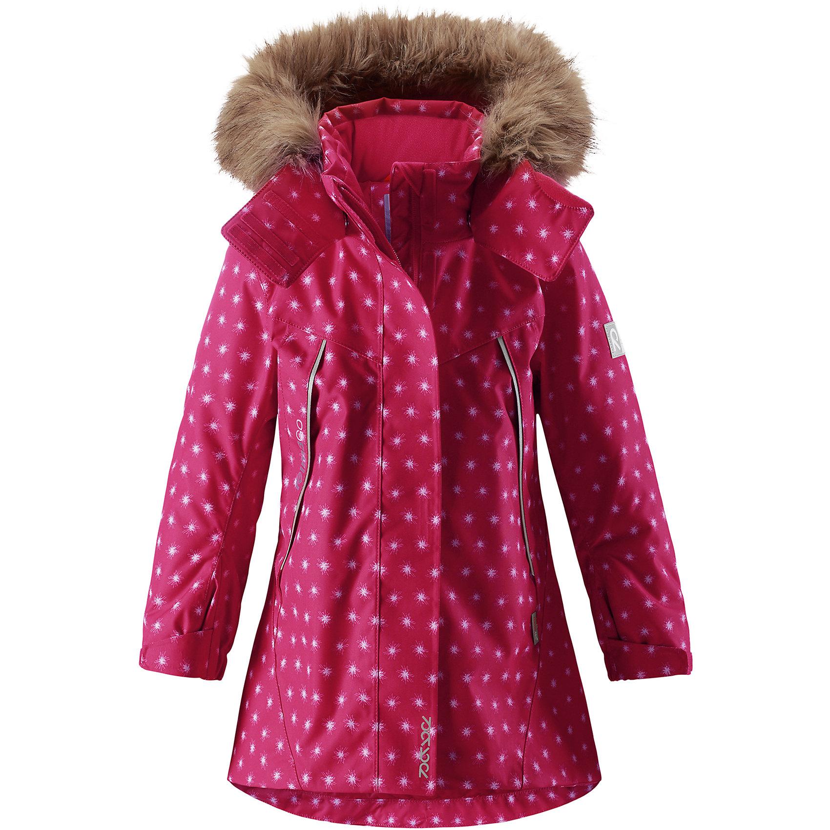 Куртка Reimatec® Reima Muhvi для девочкиВерхняя одежда<br>Характеристики товара:<br><br>• цвет: розовый;<br>• состав: 100% полиэстер;<br>• подкладка: 100% полиэстер;<br>• утеплитель: 160 г/м2<br>• температурный режим: от 0 до -20С;<br>• сезон: зима; <br>• водонепроницаемость: 15000 мм;<br>• воздухопроницаемость: 7000 мм;<br>• износостойкость: 30000 циклов (тест Мартиндейла);<br>• водо- и ветронепроницаемый, дышащий и грязеотталкивающий материал;<br>• все швы проклеены и водонепроницаемы;<br>• гладкая подкладка из полиэстера;<br>• эластичные манжеты;<br>• застежка: молния с защитой подбородка;<br>• безопасный съемный и регулируемый капюшон на кнопках;<br>• съемный искусственный мех на капюшоне;<br>• регулируемые манжеты и подол;<br>• два кармана на кнопках;<br>• внутренний нагрудный карман;<br>• карман с креплением для сенсора ReimaGO®;<br>• светоотражающие детали;<br>• страна бренда: Финляндия;<br>• страна изготовитель: Китай.<br><br>Теплая, водо и ветронепроницаемая детская зимняя куртка Reimatec®. Материал отталкивает грязь и хорошо дышит, так что ваш ребенок не вспотеет. Все швы проклеены, водонепроницаемы. Эта объемная модель отлично сидит благодаря сборке сзади на талии, а также регулируемым манжетам и подолу. Эта куртка с подкладкой из гладкого полиэстера легко надевается. С помощью удобной системы кнопок Play Layers® к куртке можно присоединять разнообразную одежду промежуточного слоя Reima®. <br><br>В куртке предусмотрен съемный капюшон, отороченный съемной отделкой из искусственного меха, и множество светоотражающих деталей. В карманах на молнии можно хранить все самое важное, например, смартфон можно положить в нагрудный карман или в два передних кармана на молнии. А для сенсора ReimaGO имеется специальный карман с кнопками. Эта куртка очень проста в уходе, ведь ее можно сушить в стиральной машине.<br><br>Куртку Muhvi для девочки Reimatec® Reima от финского бренда Reima (Рейма) можно купить в нашем интернет-магазине.<br><br>Ширина мм: 356<br>Глубина мм: 10