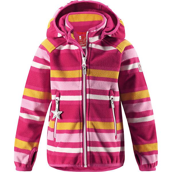 Куртка Reima Vuoksi для девочкиОдежда<br>Характеристики товара:<br><br>• цвет: розовый;<br>• состав: 100% полиэстер, windfleece;<br>• подкладка: 100% хлопок;<br>• без утеплителя;<br>• температурный режим: от 0 до +15С;<br>• сезон: демисезон; <br>• водонепроницаемость: 3000 мм;<br>• воздухопроницаемость: 3000 мм;<br>• водоотталкивающий, ветронепроницаемый и дышащий материал;<br>• материал jersey  на внутренней стороне;<br>• эластичная резинка на кромке капюшона, манжетах и подоле;<br>• застежка: молния с защитой подбородка;<br>• безопасный съемный капюшон на кнопках;<br>• отверстие для большого пальца на манжете;<br>• два кармана на молнии;<br>• светоотражающие детали;<br>• страна бренда: Финляндия;<br>• страна изготовитель: Китай.<br><br>В этой куртке Reima из материала windfleece маленьких покорителей погоды не остановит никакой ветер! Эластичная куртка сшита из дышащего флиса с внутренней ветронепроницаемой мембраной. Кроме того, у этой брызгозащищенной куртки – водо и грязеотталкивающая поверхность. <br><br>Многослойный материал имеет трикотажную изнанку. Удлиненные рукава с отверстиями для больших пальцев защищают маленькие запястья от холода. Съемный капюшон обеспечивает защиту от холодного весеннего и осеннего ветра, а также безопасен во время игр на свежем воздухе! <br><br>Два кармана на молнии надежно сохранят все важные мелочи во время веселых игр на воздухе. Эта куртка предназначена для подвижных детей и для любых видов активного отдыха на свежем воздухе – а в мороз ее можно поддевать в качестве промежуточного слоя под зимнюю куртку.<br><br>Куртку Vuoksi Reima от финского бренда Reima (Рейма) можно купить в нашем интернет-магазине.<br>Ширина мм: 356; Глубина мм: 10; Высота мм: 245; Вес г: 519; Цвет: розовый; Возраст от месяцев: 18; Возраст до месяцев: 24; Пол: Женский; Возраст: Детский; Размер: 92,140,134,128,122,116,110,104,98; SKU: 6901321;
