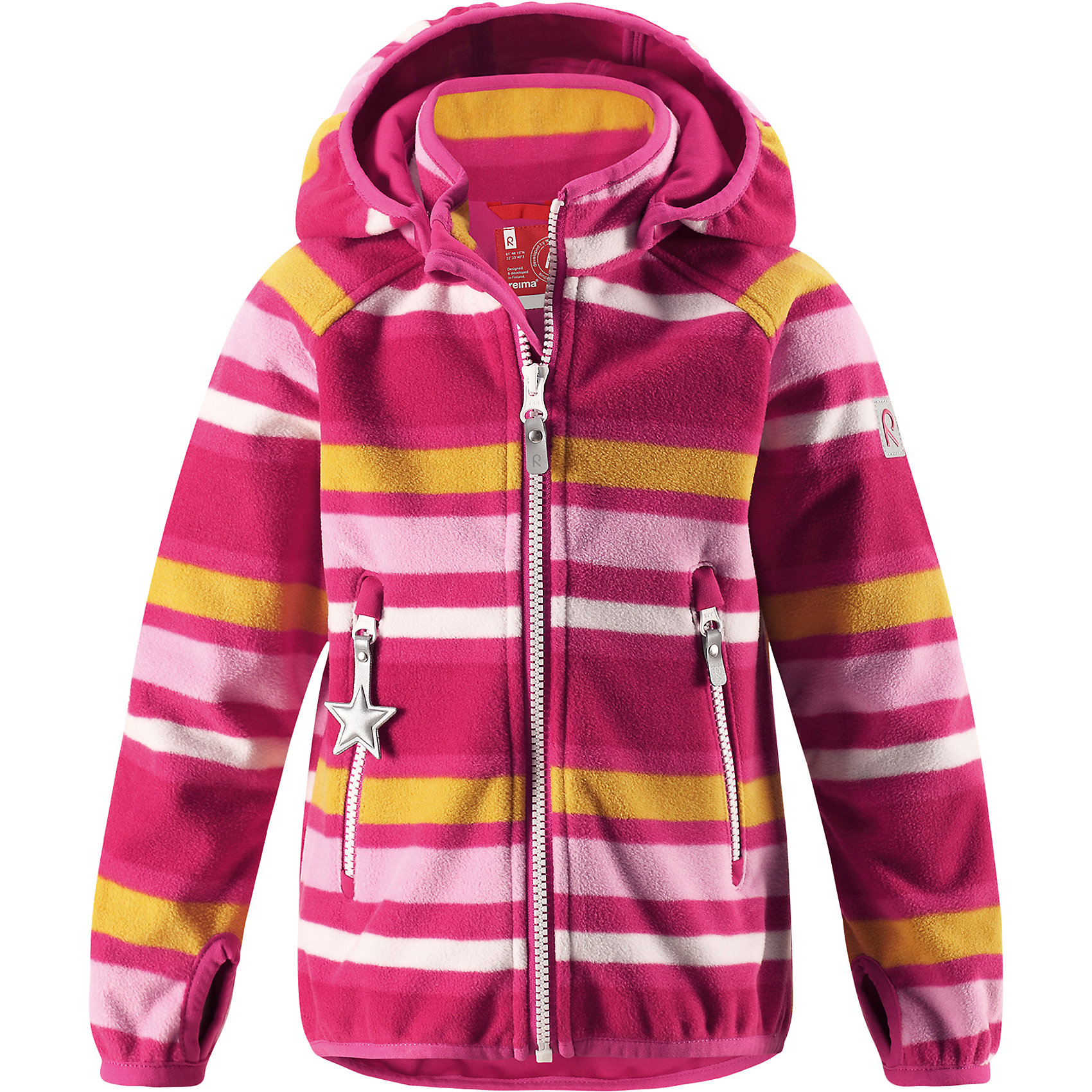 Куртка Reima VuoksiФлис и термобелье<br>Характеристики товара:<br><br>• цвет: розовый;<br>• состав: 100% полиэстер, windfleece;<br>• подкладка: 100% хлопок;<br>• без утеплителя;<br>• температурный режим: от 0 до +15С;<br>• сезон: демисезон; <br>• водонепроницаемость: 3000 мм;<br>• воздухопроницаемость: 3000 мм;<br>• водоотталкивающий, ветронепроницаемый и дышащий материал;<br>• материал jersey  на внутренней стороне;<br>• эластичная резинка на кромке капюшона, манжетах и подоле;<br>• застежка: молния с защитой подбородка;<br>• безопасный съемный капюшон на кнопках;<br>• отверстие для большого пальца на манжете;<br>• два кармана на молнии;<br>• светоотражающие детали;<br>• страна бренда: Финляндия;<br>• страна изготовитель: Китай.<br><br>В этой куртке Reima из материала windfleece маленьких покорителей погоды не остановит никакой ветер! Эластичная куртка сшита из дышащего флиса с внутренней ветронепроницаемой мембраной. Кроме того, у этой брызгозащищенной куртки – водо и грязеотталкивающая поверхность. <br><br>Многослойный материал имеет трикотажную изнанку. Удлиненные рукава с отверстиями для больших пальцев защищают маленькие запястья от холода. Съемный капюшон обеспечивает защиту от холодного весеннего и осеннего ветра, а также безопасен во время игр на свежем воздухе! <br><br>Два кармана на молнии надежно сохранят все важные мелочи во время веселых игр на воздухе. Эта куртка предназначена для подвижных детей и для любых видов активного отдыха на свежем воздухе – а в мороз ее можно поддевать в качестве промежуточного слоя под зимнюю куртку.<br><br>Куртку Vuoksi Reima от финского бренда Reima (Рейма) можно купить в нашем интернет-магазине.<br><br>Ширина мм: 356<br>Глубина мм: 10<br>Высота мм: 245<br>Вес г: 519<br>Цвет: розовый<br>Возраст от месяцев: 18<br>Возраст до месяцев: 24<br>Пол: Унисекс<br>Возраст: Детский<br>Размер: 92,140,134,128,122,116,110,104,98<br>SKU: 6901321
