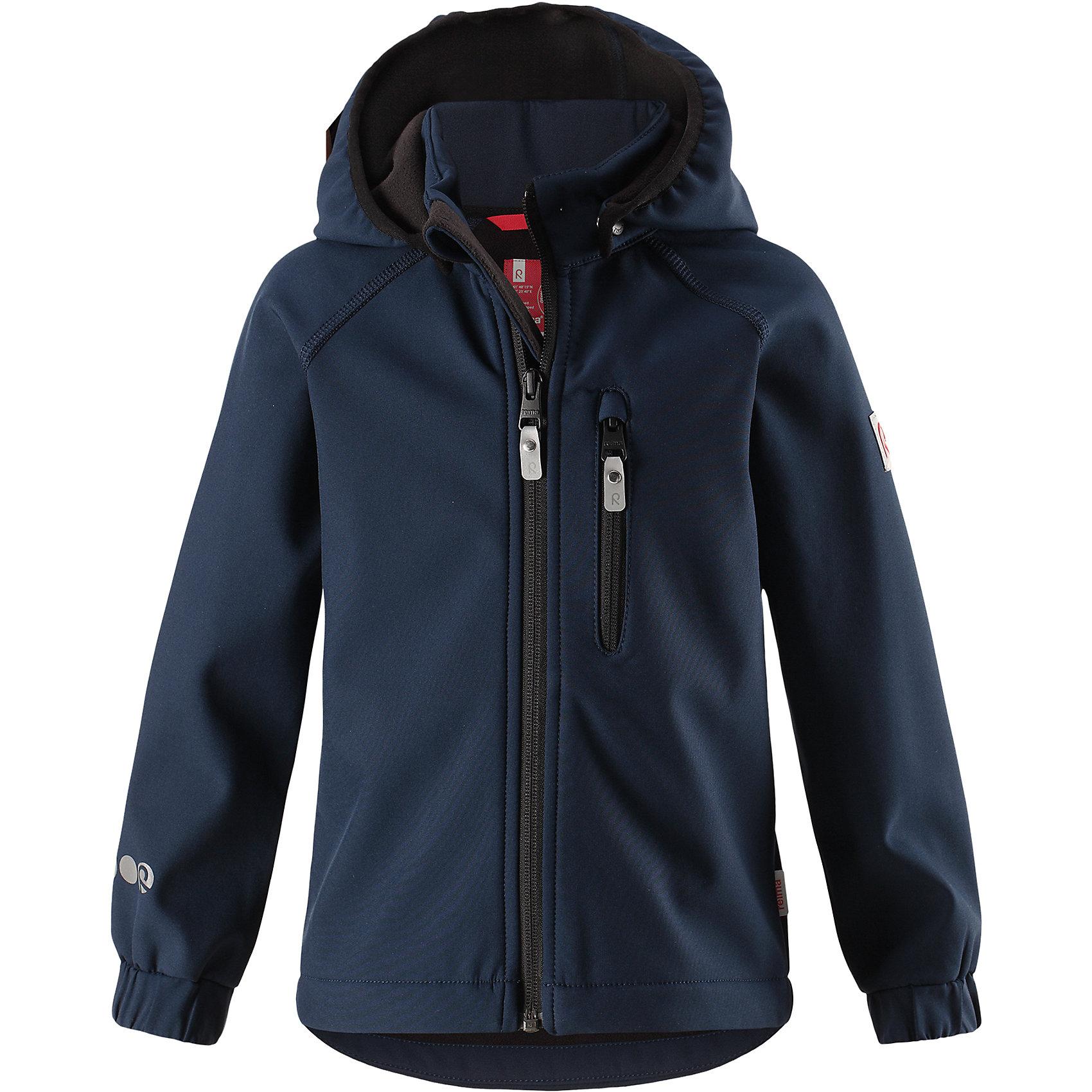 Куртка Vantti ReimaФлис и термобелье<br>Характеристики товара:<br><br>• цвет: темно-синий;<br>• состав: 95% полиэстер, 5% эластан, полиуретановое покрытие;<br>• утеплитель: без утеплителя;<br>• сезон: демисезон;<br>• температурный режим: от +5 до +15С;<br>• водонепроницаемость: 10000 мм;<br>• воздухопроницаемость: 4000 мм;<br>• водоотталкивающий, ветронепроницаемый и дышащий материал;<br>• многослойный материал, с изнаночной стороны - флис;<br>• водонепроницаемый материал softshell;<br>• застежка: молния с защитой подбородка от защемления;<br>• безопасный съемный капюшон;<br>• эластичные манжеты;<br>• карман на молнии;<br>• светоотражающие элементы;<br>• страна бренда: Финляндия;<br>• страна производства: Китай.<br><br>Демисезонная куртка с капюшоном изготовлена из водо и грязеотталкивающего материала softshell. Куртка на молнии, с флисовой подкладкой станет идеальным выбором для холодных весенних и осенних дней. Мягкий и эластичный материал softshell дарит ощущение комфорта. В двух карманах найдется место для всех мелочей. Благодаря эластичным сборкам на рукавах и подоле, куртка отлично сидит. Куртка без подкладки. <br><br>Куртка Vantti Reima можно купить в нашем интернет-магазине.<br><br>Ширина мм: 356<br>Глубина мм: 10<br>Высота мм: 245<br>Вес г: 519<br>Цвет: синий<br>Возраст от месяцев: 96<br>Возраст до месяцев: 108<br>Пол: Унисекс<br>Возраст: Детский<br>Размер: 134,140,92,98,104,110,116,122,128<br>SKU: 6901371