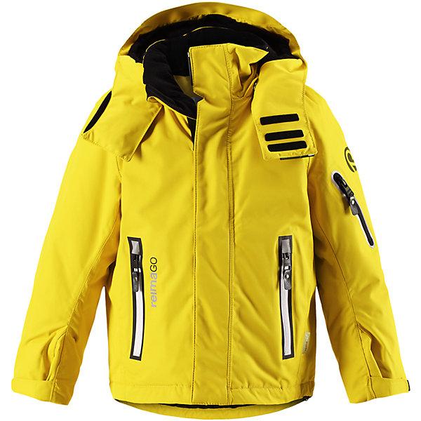Куртка Regor Reimatec® Reima для мальчикаОдежда<br>Характеристики товара:<br><br>• цвет: желтый;<br>• состав: 100% полиэстер;<br>• утеплитель: 140 г/м2;<br>• сезон: зима;<br>• температурный режим: от 0 до -20С;<br>• водонепроницаемость: 15000 мм;<br>• воздухопроницаемость: 7000 мм;<br>• износостойкость: 40000 циклов (тест Мартиндейла);<br>• водоотталкивающий, ветронепроницаемый и дышащий материал;<br>• все швы проклеены и водонепроницаемы;<br>• гладкая подкладка из полиэстера;<br>• застежка: молния с защитой подбородка от защемления;<br>• безопасный съемный и регулируемый капюшон;<br>• регулируемые манжеты и внутренние манжеты из лайкры;<br>• регулируемый подол;<br>• внутренняя снежная юбка;<br>• карманы на молнии, карман для skipass на рукаве;<br>• карман для очков и внутренний нагрудный карман;<br>• карман с креплениями для сенсора ReimaGO®<br>• светоотражающие элементы;<br>• страна бренда: Финляндия;<br>• страна производства: Китай.<br><br>Зимняя куртка с капюшоном Reimatec® с полностью проклеенными швами. Куртка на молнии сшита из специального материала – водо и ветронепроницаемого, и в то же время дышащего. Эта куртка с подкладкой из гладкого полиэстера легко надевается, и ее очень удобно носить с теплым промежуточным слоем. <br>Манжеты и подол куртки регулируются, так что ее можно подогнать идеально по фигуре. Снежная юбка не пропустит вовнутрь ни снежинки, а за ненадобностью ее можно пристегнуть к подкладке. Съемный и регулируемый капюшон безопасен, поскольку легко отстегнется, если вдруг за что-нибудь зацепится. Капюшон также оснащен козырьком и отворотом, защищающим шею от ветра. <br>Отделку куртки довершает карман для лыжной карты на рукаве, нагрудный карман и карман на молнии и специальный карман для сенсора ReimaGO. Эта куртка очень проста в уходе, кроме того, ее можно сушить в сушильной машине. Благодаря множеству практичных деталей эта прочная куртка просто создана для зимних забав.<br><br>Куртку Regor для мальчика Reimatec® Reima можно купить в нашем 