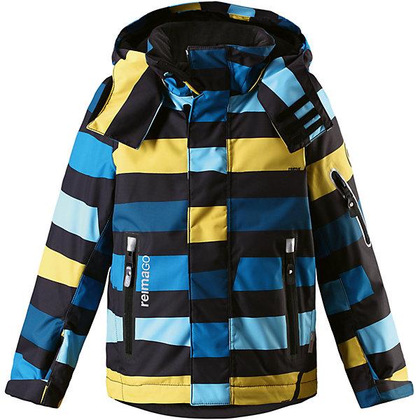 Куртка Regor Reimatec® Reima для мальчикаОдежда<br>Характеристики товара:<br><br>• цвет: синий в полоску;<br>• состав: 100% полиэстер;<br>• утеплитель: 140 г/м2;<br>• сезон: зима;<br>• температурный режим: от 0 до -20С;<br>• водонепроницаемость: 15000 мм;<br>• воздухопроницаемость: 7000 мм;<br>• износостойкость: 35000 циклов (тест Мартиндейла);<br>• водоотталкивающий, ветронепроницаемый и дышащий материал;<br>• все швы проклеены и водонепроницаемы;<br>• гладкая подкладка из полиэстера;<br>• застежка: молния с защитой подбородка от защемления;<br>• безопасный съемный и регулируемый капюшон;<br>• регулируемые манжеты и внутренние манжеты из лайкры;<br>• регулируемый подол;<br>• внутренняя снежная юбка;<br>• карманы на молнии, карман для skipass на рукаве;<br>• карман для очков и внутренний нагрудный карман;<br>• карман с креплениями для сенсора ReimaGO®<br>• светоотражающие элементы;<br>• страна бренда: Финляндия;<br>• страна производства: Китай.<br><br>Зимняя куртка с капюшоном Reimatec® с полностью проклеенными швами. Куртка на молнии сшита из специального материала – водо и ветронепроницаемого, и в то же время дышащего. Эта куртка с подкладкой из гладкого полиэстера легко надевается, и ее очень удобно носить с теплым промежуточным слоем. <br>Манжеты и подол куртки регулируются, так что ее можно подогнать идеально по фигуре. Снежная юбка не пропустит вовнутрь ни снежинки, а за ненадобностью ее можно пристегнуть к подкладке. Съемный и регулируемый капюшон безопасен, поскольку легко отстегнется, если вдруг за что-нибудь зацепится. Капюшон также оснащен козырьком и отворотом, защищающим шею от ветра. <br>Отделку куртки довершает карман для лыжной карты на рукаве, нагрудный карман и карман на молнии и специальный карман для сенсора ReimaGO. Эта куртка очень проста в уходе, кроме того, ее можно сушить в сушильной машине. Благодаря множеству практичных деталей эта прочная куртка просто создана для зимних забав.<br><br>Куртку Regor для мальчика Reimatec® Reima можно купить