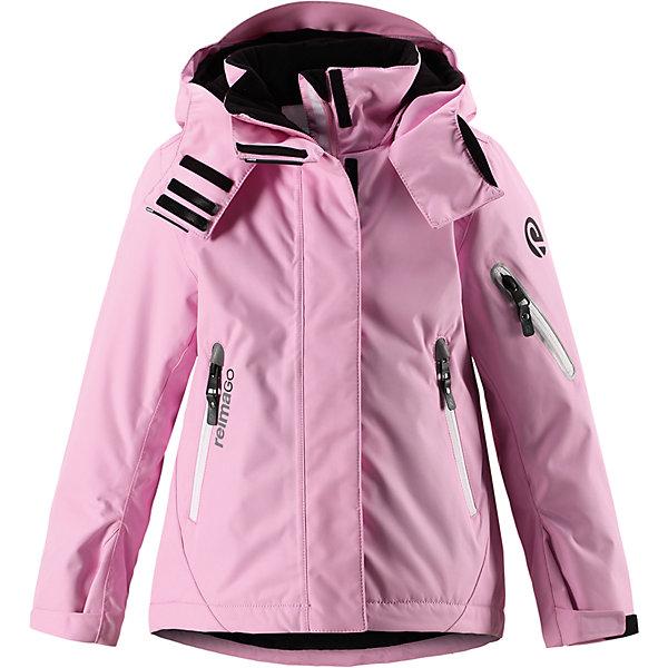 Куртка Reimatec® Reima Roxana для девочкиОдежда<br>Характеристики товара:<br><br>• цвет: розовый;<br>• 100% полиэстер;<br>• утеплитель: 100% полиэстер, 140 г/м2;<br>• сезон: зима;<br>• температурный режим: от 0 до -20С;<br>• водонепроницаемость: 15000 мм;<br>• воздухопроницаемость: 7000 мм;<br>• износостойкость: 30000 циклов (тест Мартиндейла)<br>• ветронепроницаемый, дышащий материал;<br>• водо- грязеотталкивающий материал;<br>• все швы проклеены и водонепроницаемы;<br>• гладкая подкладка из полиэстера;<br>• застежка: молния с дополнительной планкой на липучках;<br>• защита подбородка от защемления;<br>• безопасный, съемный и регулируемый капюшон;<br>• регулируемые манжеты и внутренние манжеты из лайкры;<br>• регулируемый подол, снегозащитный манжет на талии;<br>• карманы на молнии, карман для skipass на рукаве;<br>• карман для очков и внутренний нагрудный карман;<br>• карман с креплениями для сенсора ReimaGO®;<br>• светоотражающие элементы;<br>• страна бренда: Финляндия;<br>• страна производства: Китай.<br><br>Зимняя куртка на молнии Reimatec® с множеством функциональных деталей. Куртка с проклеенными швами сшита из специального, водо и грязеотталкивающего и дышащего материала. Эта куртка с подкладкой из гладкого полиэстера легко надевается, и ее очень удобно носить с теплым промежуточным слоем. <br><br>Манжеты и подол куртки регулируются, так что ее можно подогнать точно по фигуре. Снежную юбку можно пристегнуть к подкладке, если она не используется. Съемный и регулируемый капюшон безопасен во время игр на свежем воздухе, он легко отстегнется, если вдруг за что-нибудь зацепится. Капюшон также оснащен козырьком и отворотом, защищающим шею от ветра. <br><br>Отделку этой модной зимней модели довершают контрастные молнии на карманах, карман для лыжной карты на рукаве, нагрудный карман и карманы на молнии и специальный карман для сенсора ReimaGO. Эта куртка очень проста в уходе, кроме того, ее можно сушить в стиральной машине. Благодаря множеству практичных деталей эт