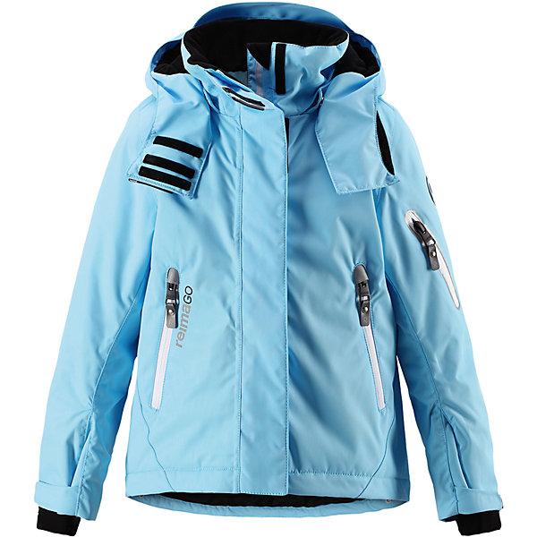 Куртка Reimatec® Reima Roxana для девочкиОдежда<br>Характеристики товара:<br><br>• цвет: голубой;<br>• 100% полиэстер;<br>• утеплитель: 100% полиэстер, 140 г/м2;<br>• сезон: зима;<br>• температурный режим: от 0 до -20С;<br>• водонепроницаемость: 15000 мм;<br>• воздухопроницаемость: 7000 мм;<br>• износостойкость: 30000 циклов (тест Мартиндейла)<br>• ветронепроницаемый, дышащий материал;<br>• водо- грязеотталкивающий материал;<br>• все швы проклеены и водонепроницаемы;<br>• гладкая подкладка из полиэстера;<br>• застежка: молния с дополнительной планкой на липучках;<br>• защита подбородка от защемления;<br>• безопасный, съемный и регулируемый капюшон;<br>• регулируемые манжеты и внутренние манжеты из лайкры;<br>• регулируемый подол, снегозащитный манжет на талии;<br>• карманы на молнии, карман для skipass на рукаве;<br>• карман для очков и внутренний нагрудный карман;<br>• карман с креплениями для сенсора ReimaGO®;<br>• светоотражающие элементы;<br>• страна бренда: Финляндия;<br>• страна производства: Китай.<br><br>Зимняя куртка на молнии Reimatec® с множеством функциональных деталей. Куртка с проклеенными швами сшита из специального, водо и грязеотталкивающего и дышащего материала. Эта куртка с подкладкой из гладкого полиэстера легко надевается, и ее очень удобно носить с теплым промежуточным слоем. <br><br>Манжеты и подол куртки регулируются, так что ее можно подогнать точно по фигуре. Снежную юбку можно пристегнуть к подкладке, если она не используется. Съемный и регулируемый капюшон безопасен во время игр на свежем воздухе, он легко отстегнется, если вдруг за что-нибудь зацепится. Капюшон также оснащен козырьком и отворотом, защищающим шею от ветра. <br><br>Отделку этой модной зимней модели довершают контрастные молнии на карманах, карман для лыжной карты на рукаве, нагрудный карман и карманы на молнии и специальный карман для сенсора ReimaGO. Эта куртка очень проста в уходе, кроме того, ее можно сушить в стиральной машине. Благодаря множеству практичных деталей эт